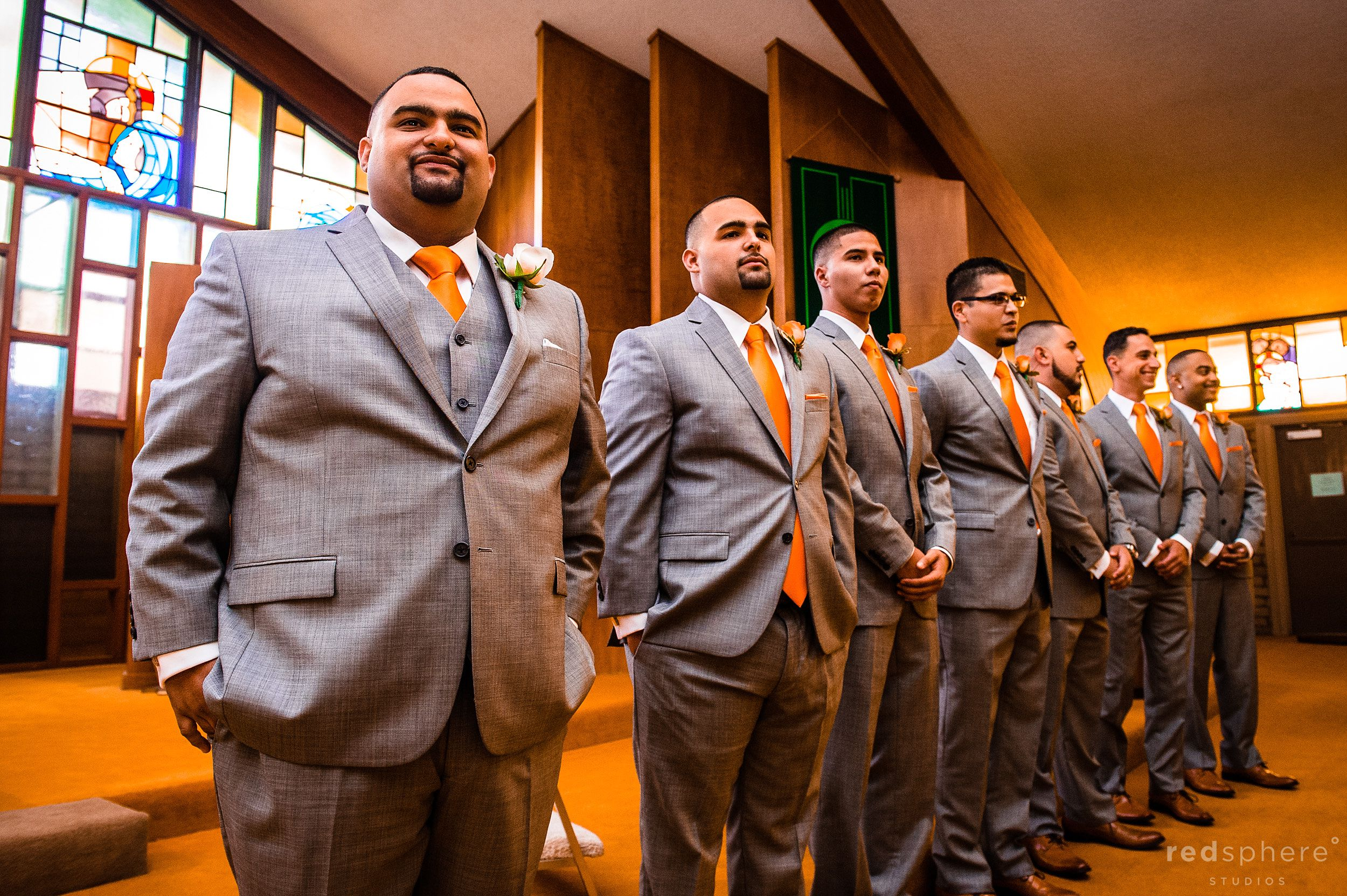 Groomsmen Lined Up as They Wait for Bride
