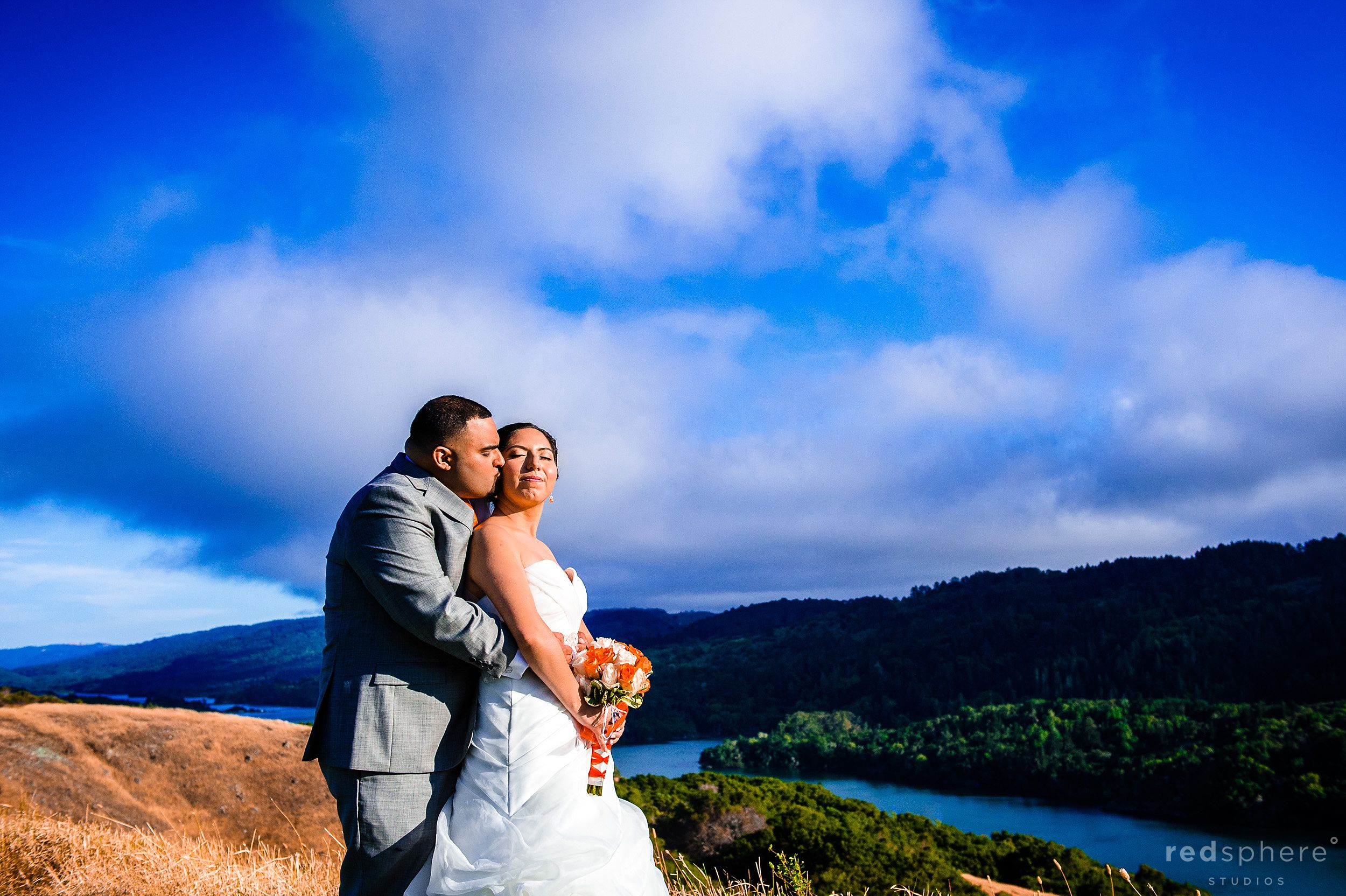 Groom Embraces Bride at Crystal Springs Golf Course, Burlingame, CA