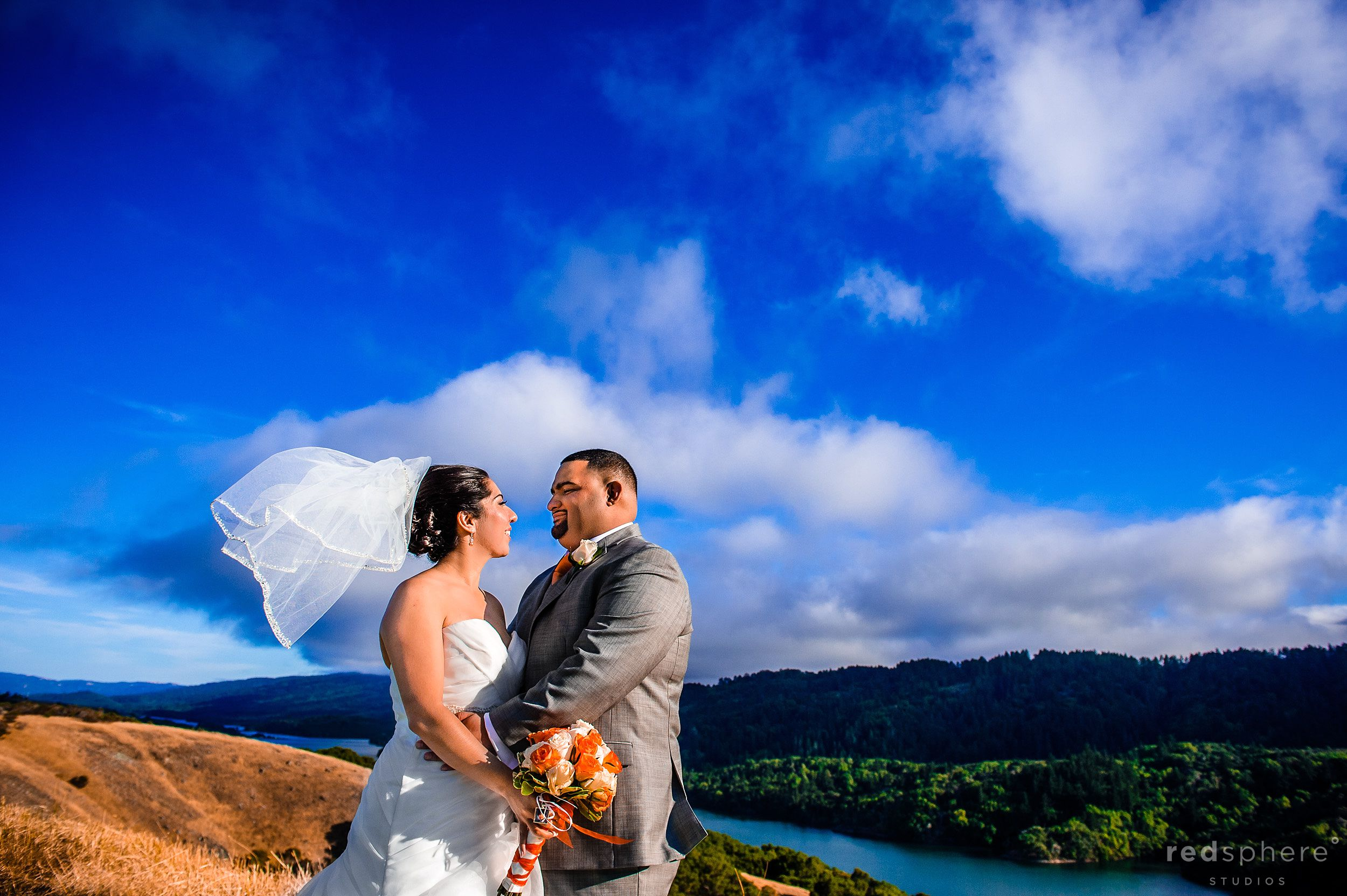 Bride and Groom at Crystal Springs Golf Course, Burlingame on a Sunny day