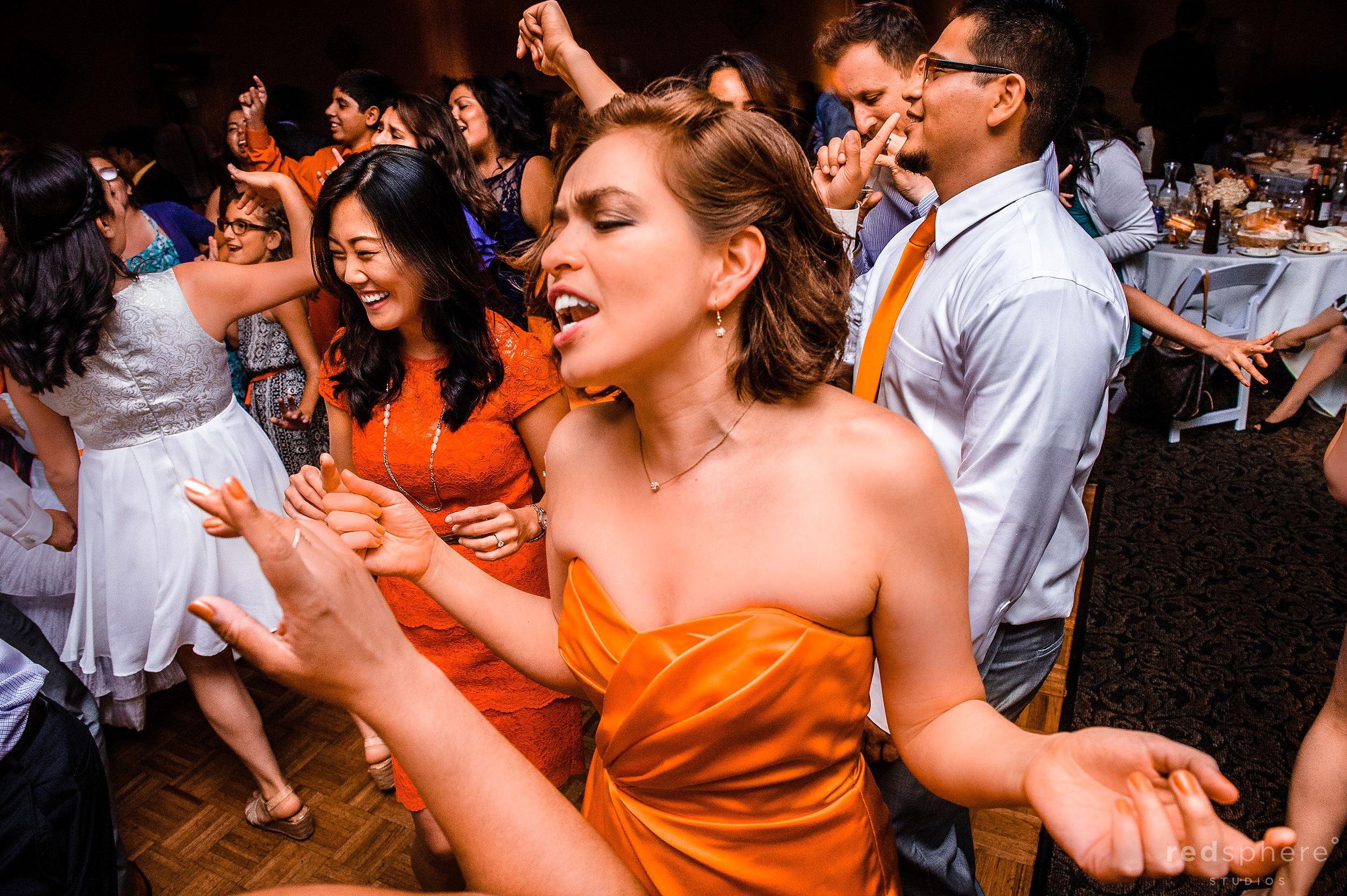 Bridesmaid on the Dance Floor at Burlingame Wedding After Party