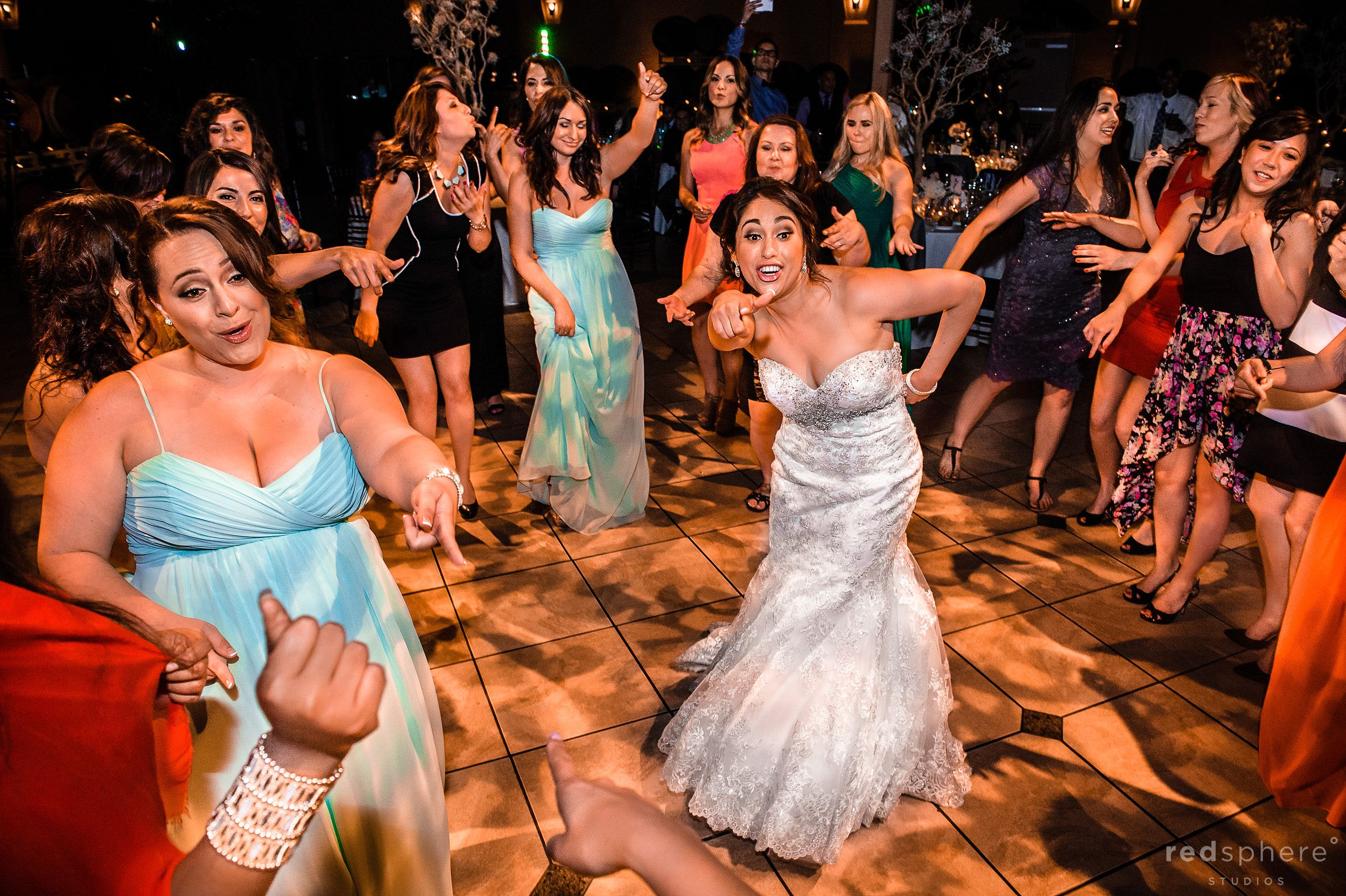 Bride and Guests All Hitting the Dance Floor Palm Event Center, Pleasanton