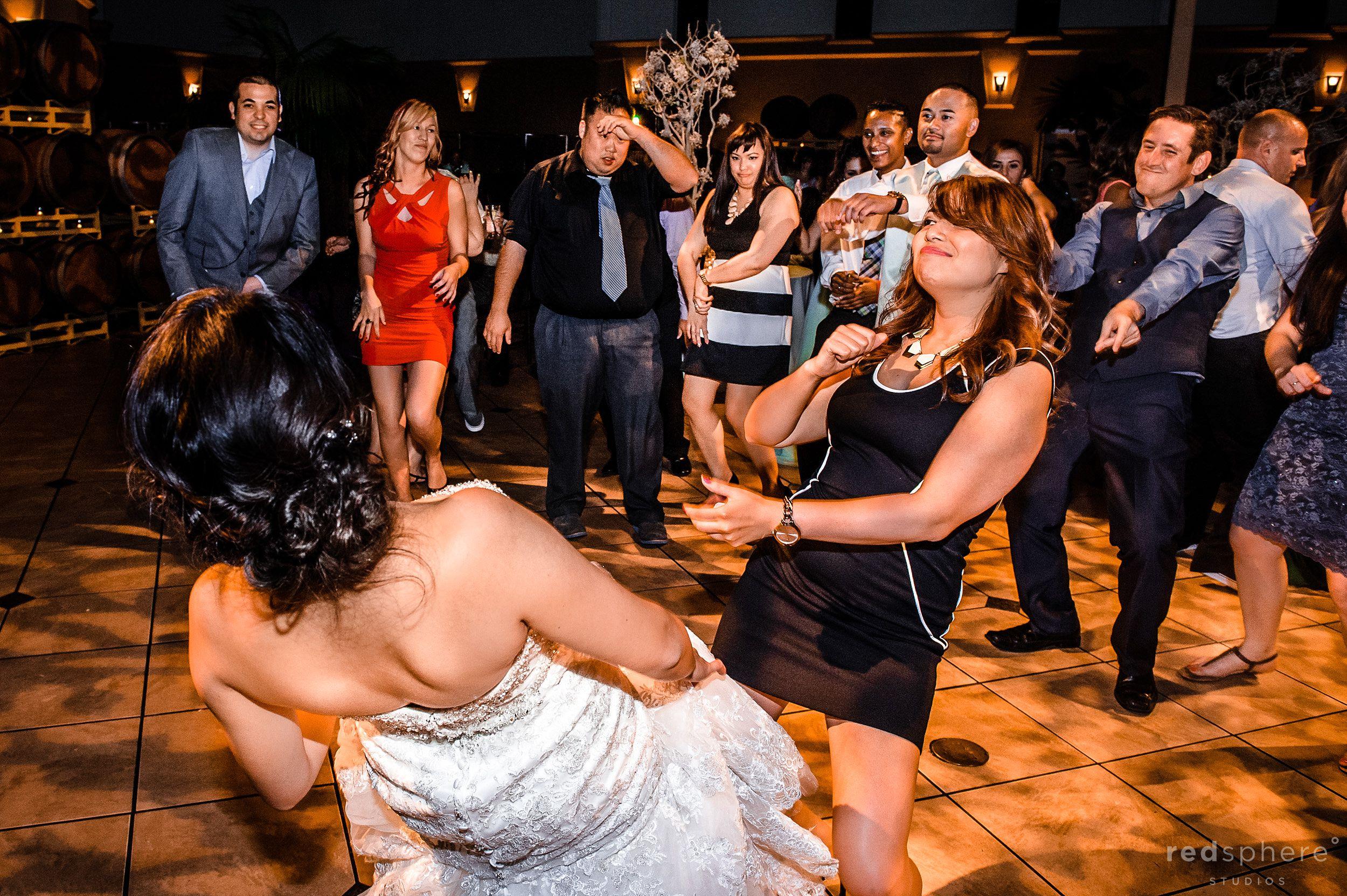 Bride and Friend Dancing at Palm Event Center, Pleasanton, CA