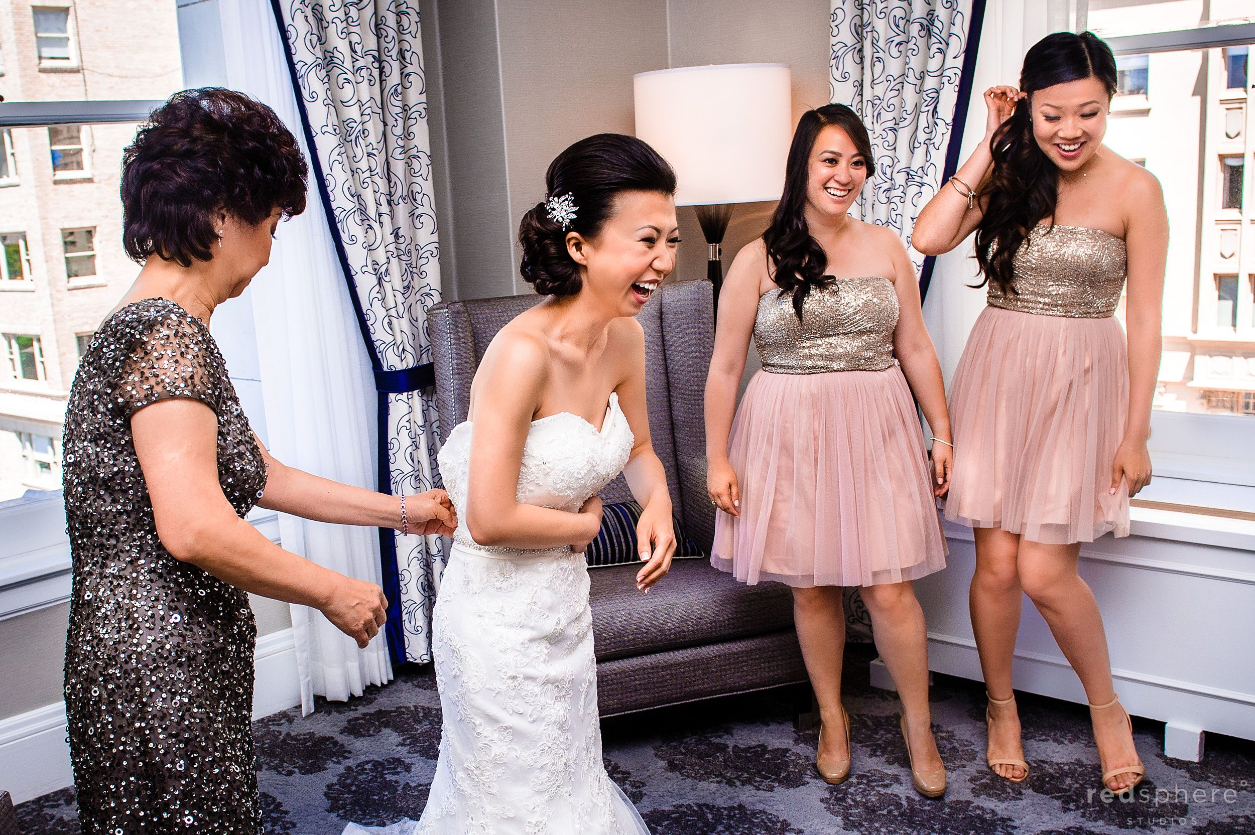 Bride Sharing Laughs With Friends and Mother