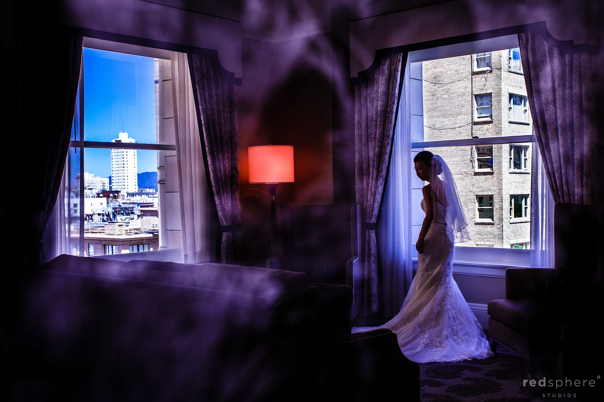 Bride Looking Elegant in her Wedding Dress, Window Reflections at Fairmont Hotel