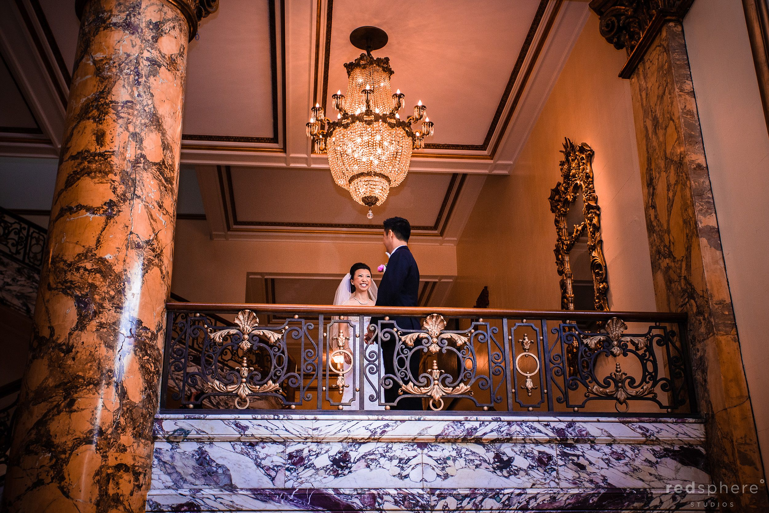 Bride Shares a Laugh While With Groom at San Francisco's Fairmont Hotel