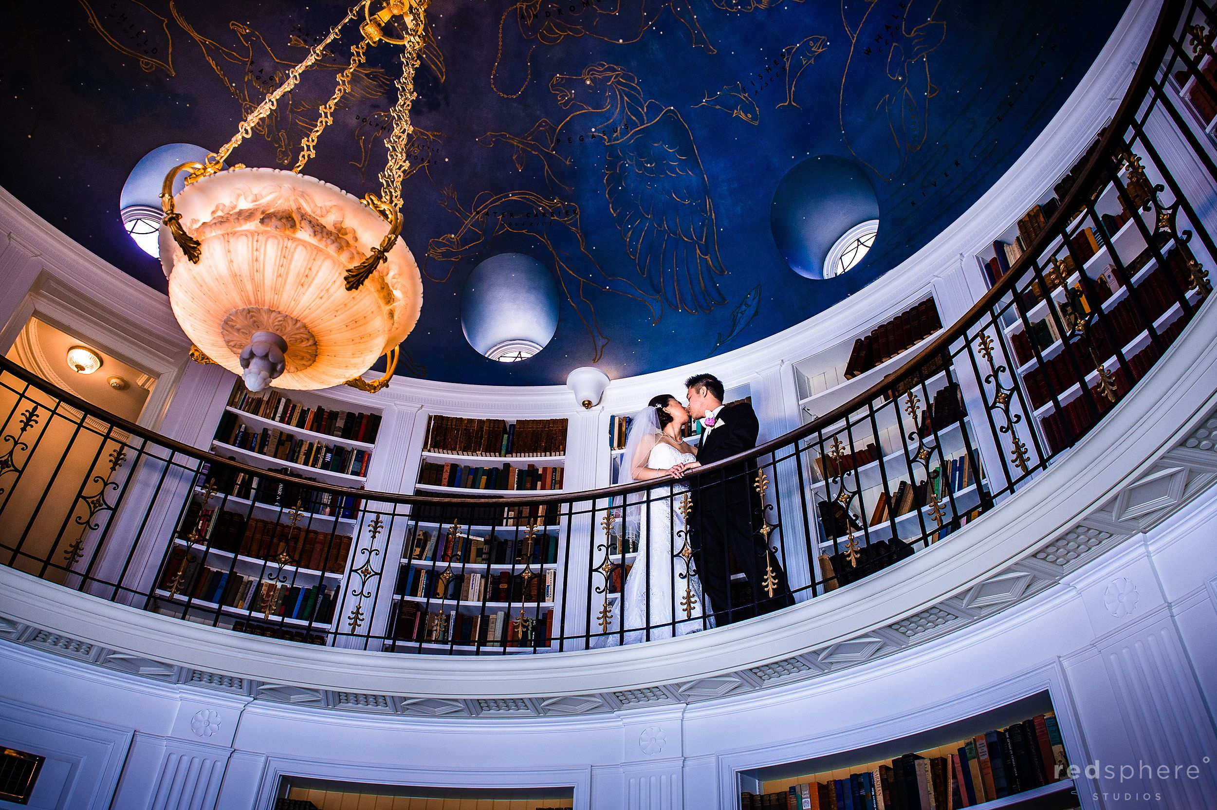 Bride and Groom Share a Special Kiss at the Luxury Fairmont Hotel, Starry Night