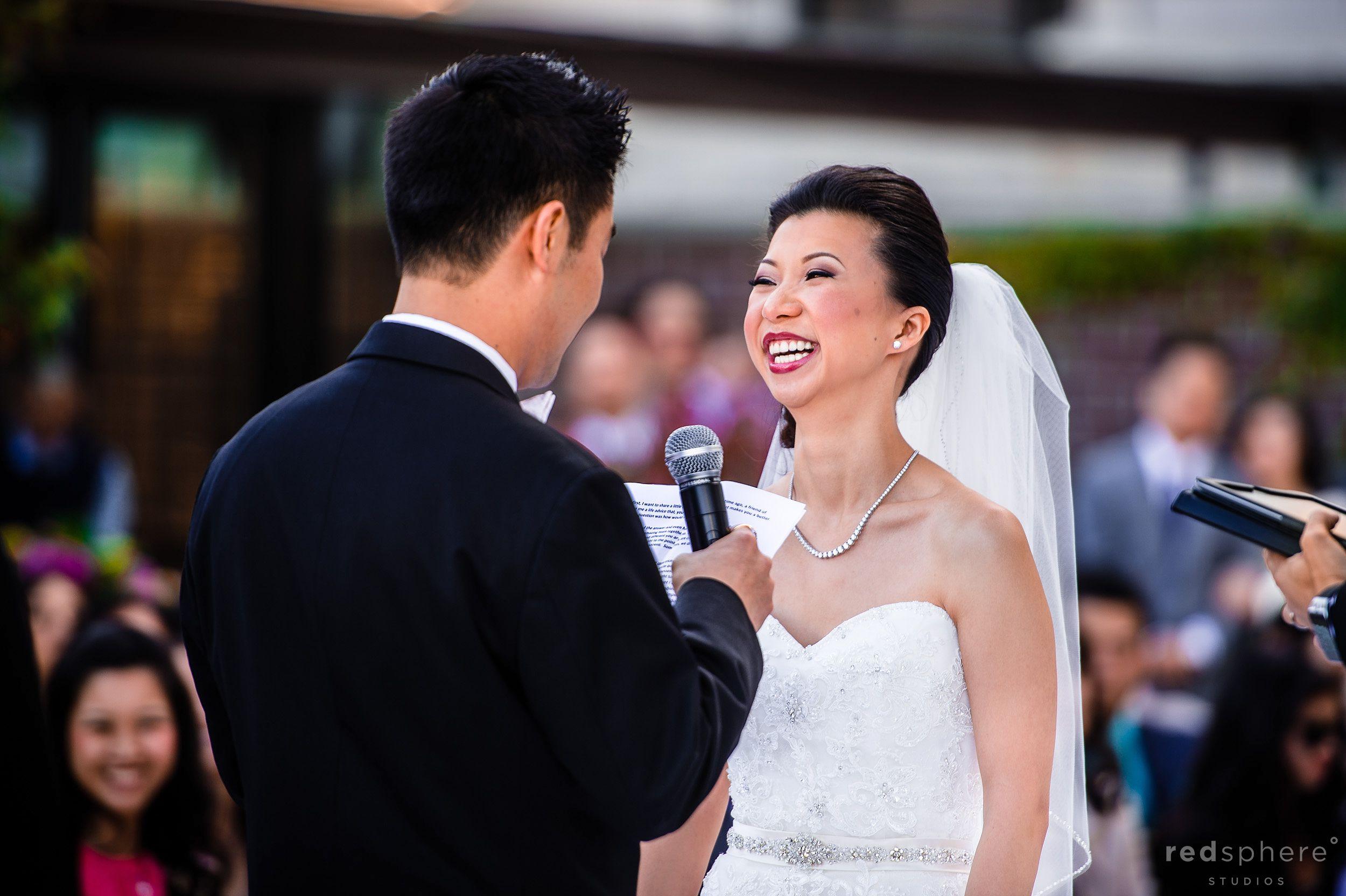 Bride Smiling Hard While Groom Speaks at Wedding Ceremony, Fairmont San Francisco