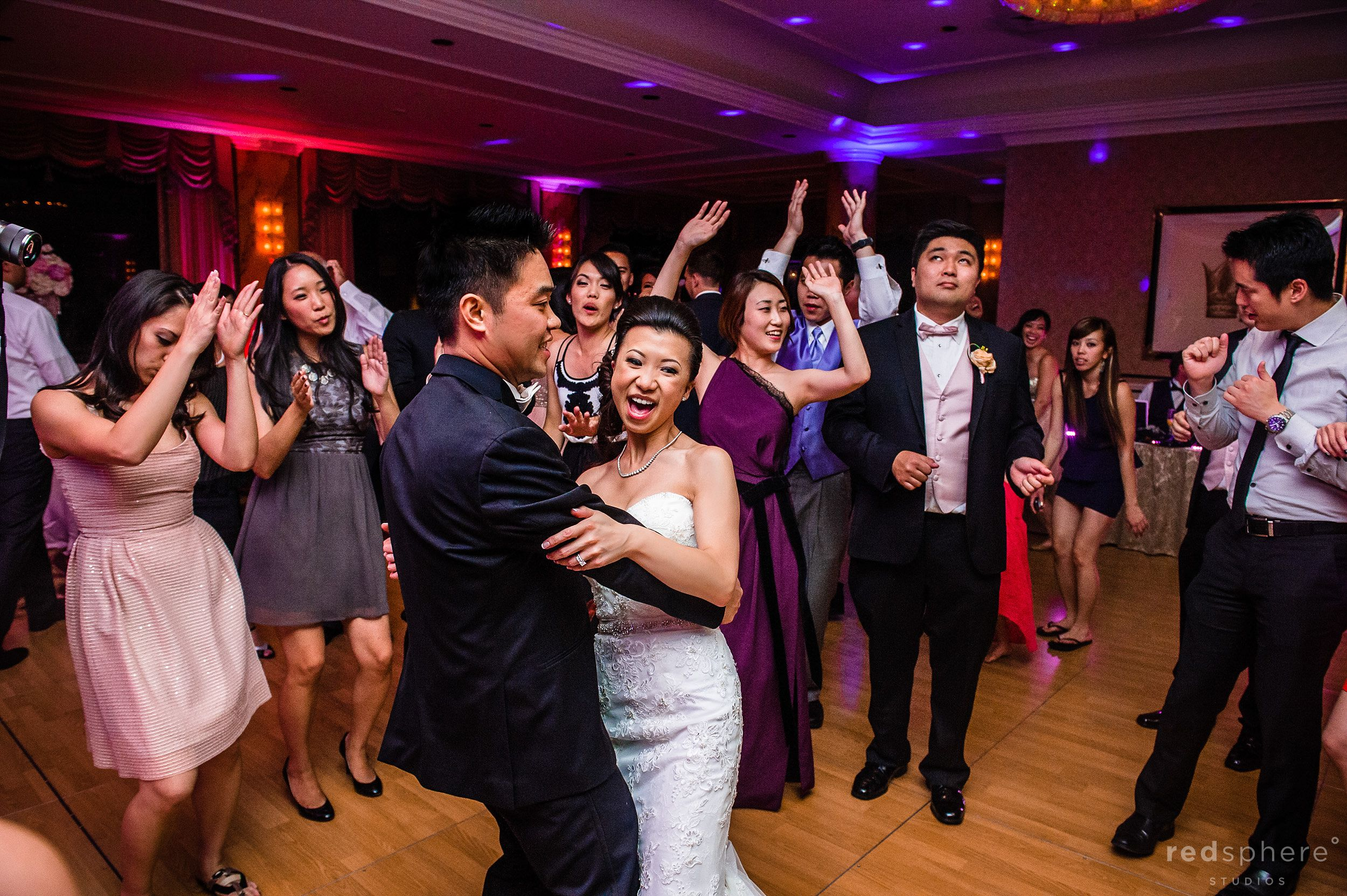 Bride and Groom Dancing Surrounded by Friends and Family, Fairmont Hotel