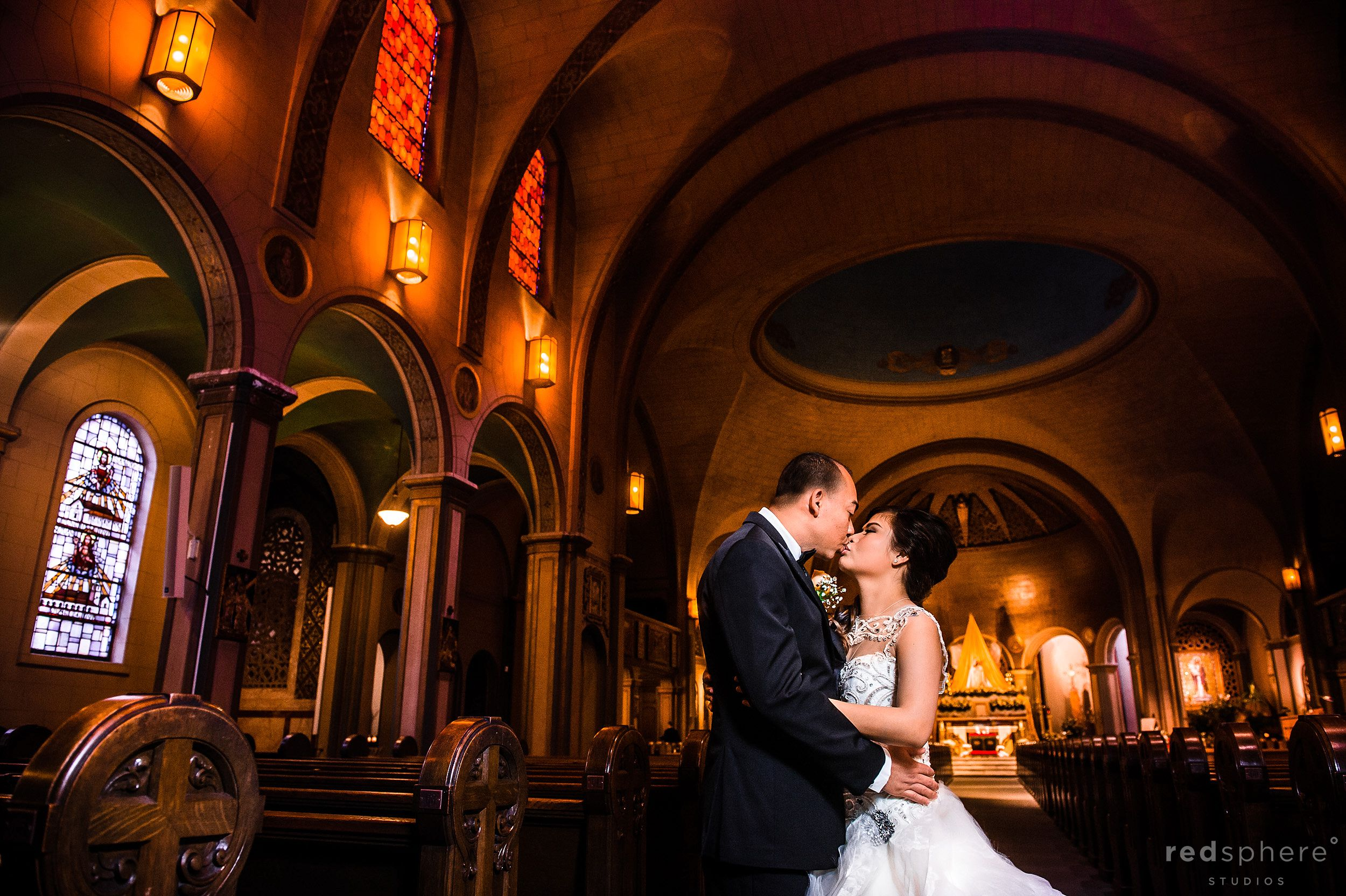 Bride and Groom Kiss After Wedding Ceremony at Mission Dolores Basilica & Dominic's at Oyster Point, San Francisco