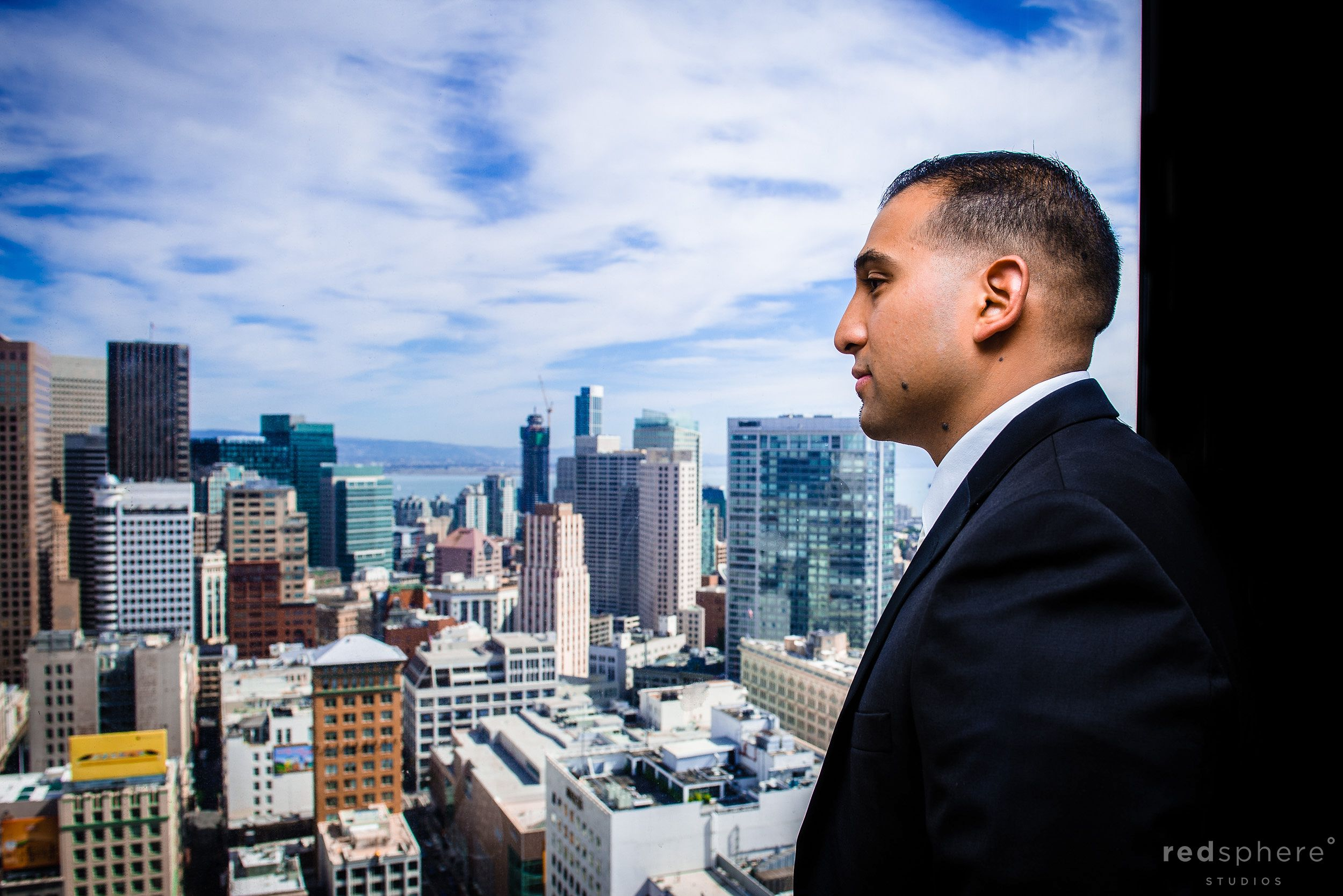 Groom Before Wedding Along The Gorgeous San Francisco Skyline, Westin St. Francis