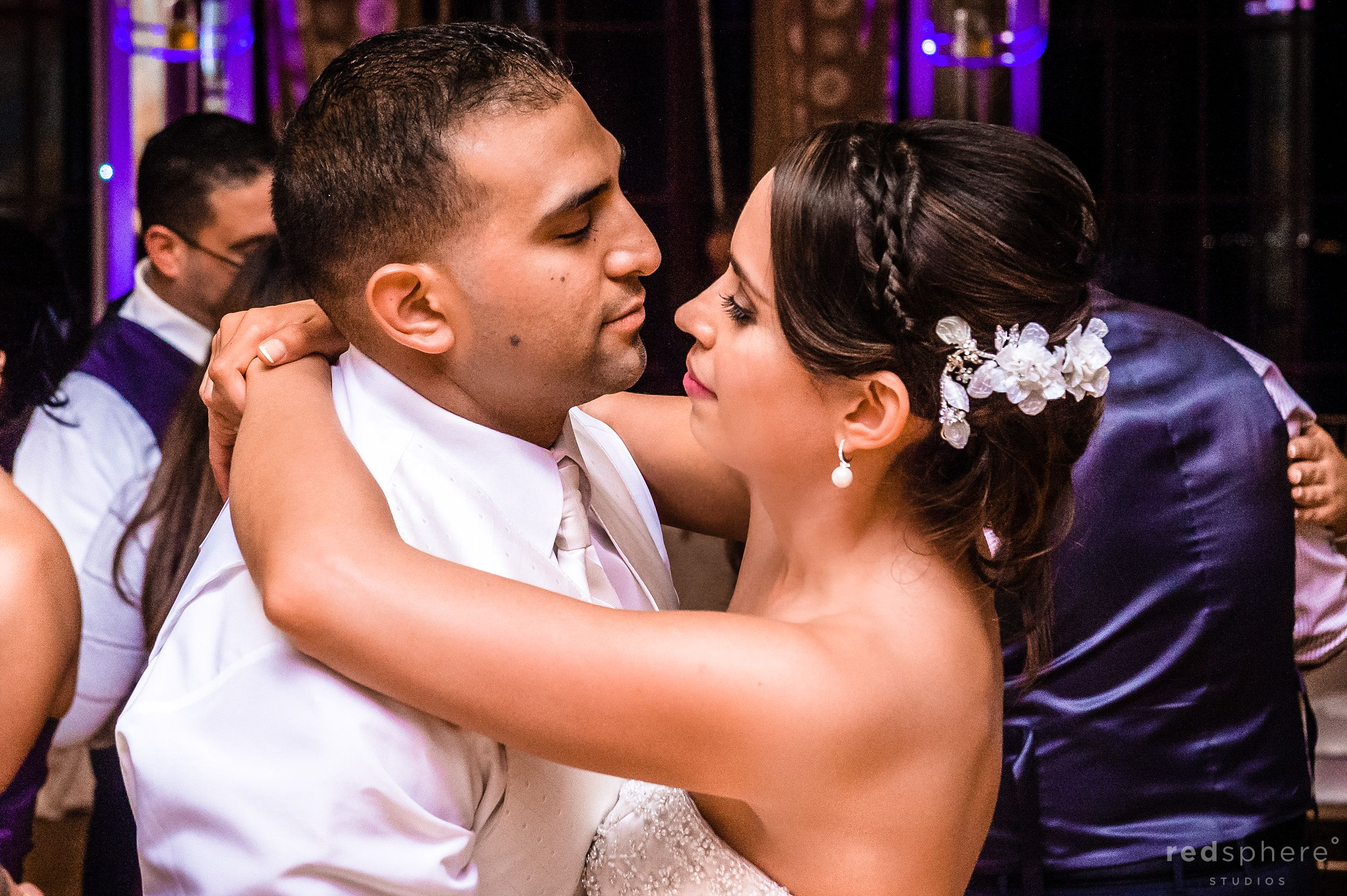 Bride and Groom Stare Into Each Other's Eyes While Slow Dancing, Westin St. Francis Dance Floor