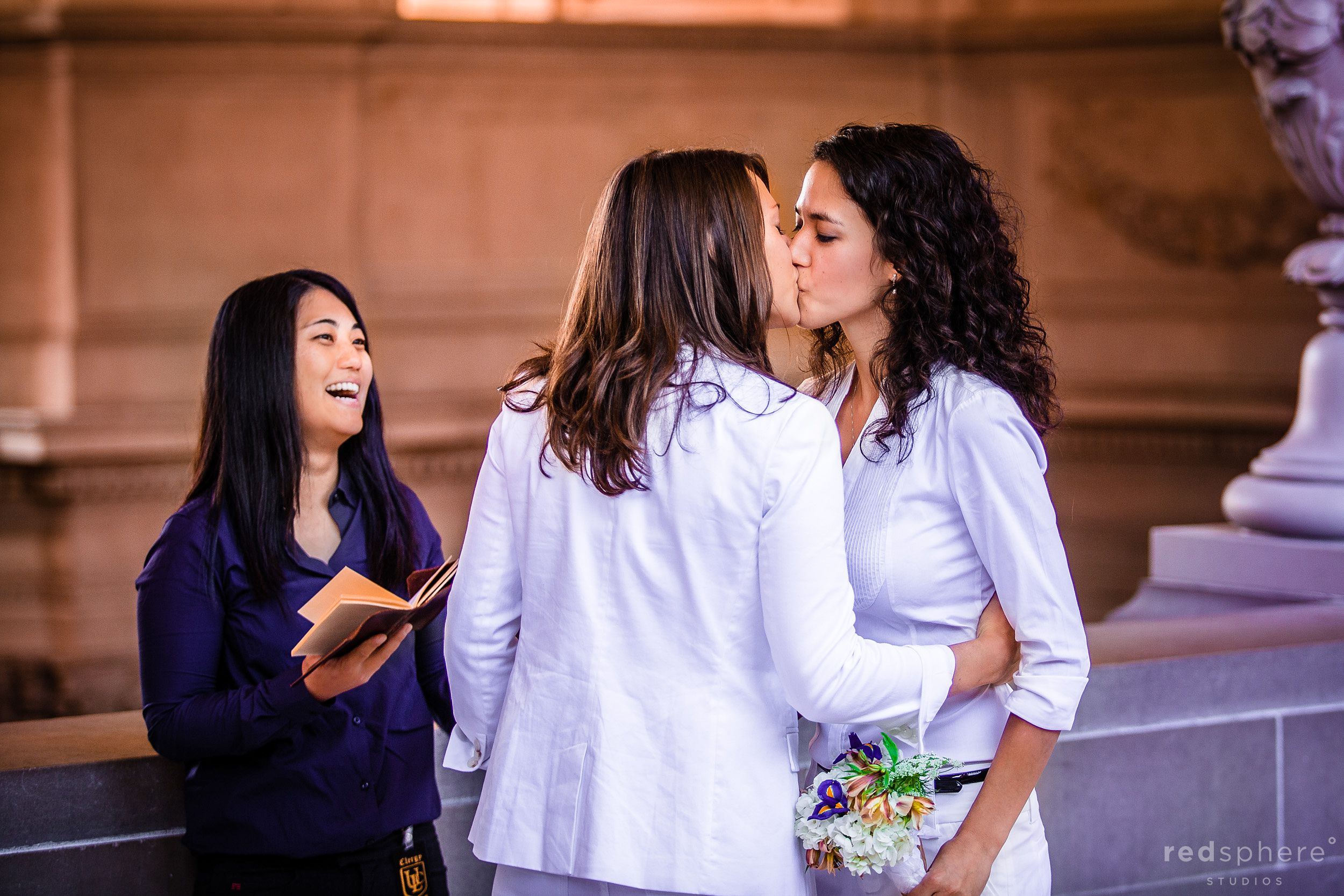 Same-Sex Couple Marry and Kiss After Vows Are Said, City Hall San Francisco