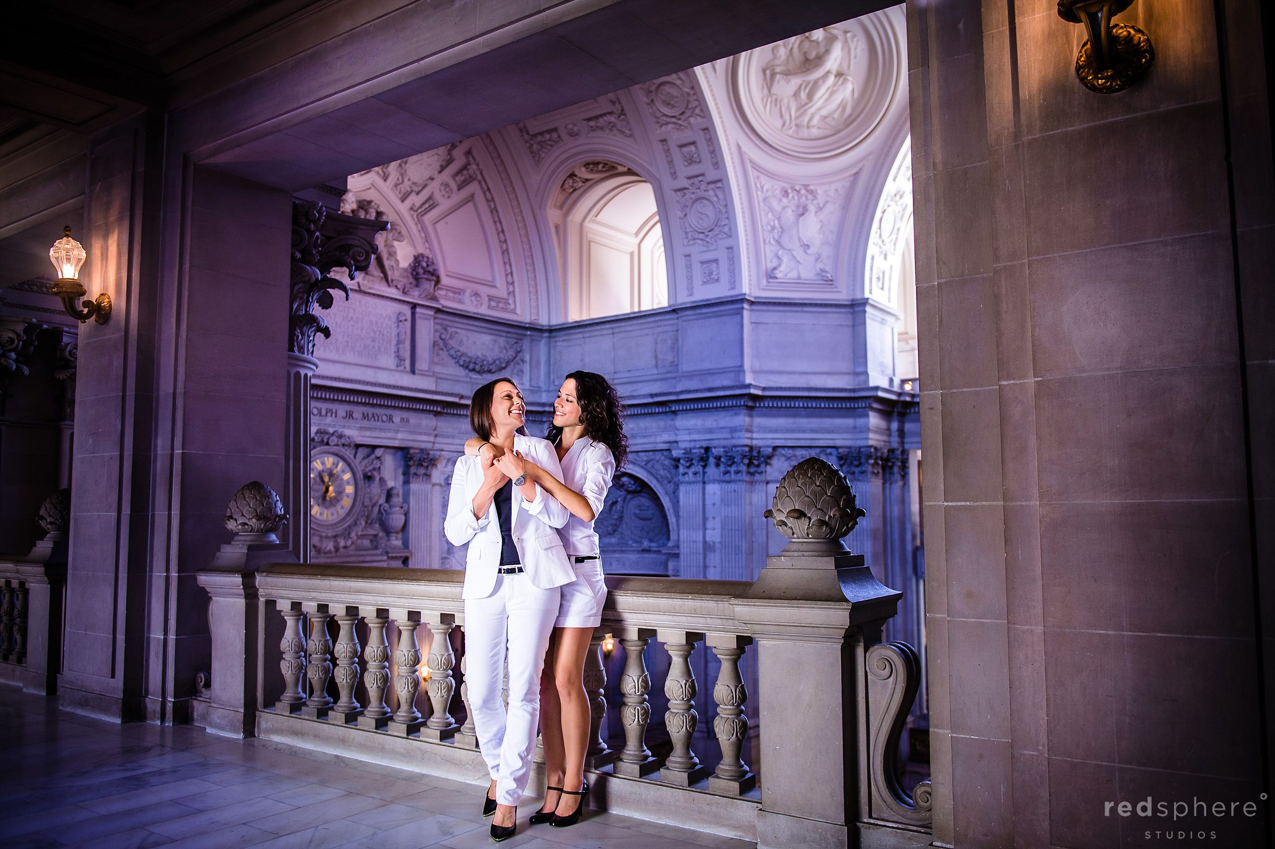 Brides Laughing and Giggling After San Francisco City Hall Wedding Ceremony
