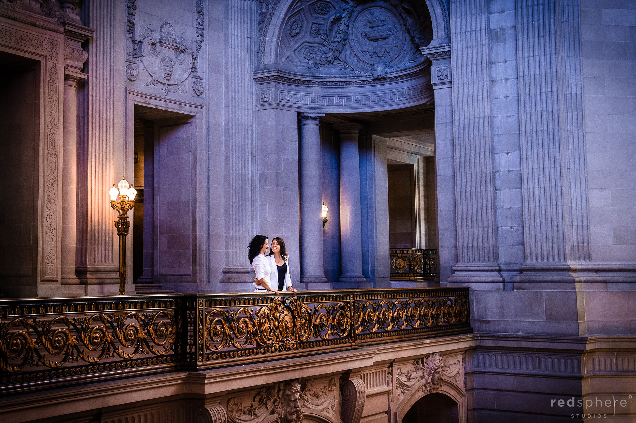 Newly Wed Same-Sex Couple Look Into Intently Into Each Other's Eyes At San Francisco City Hall