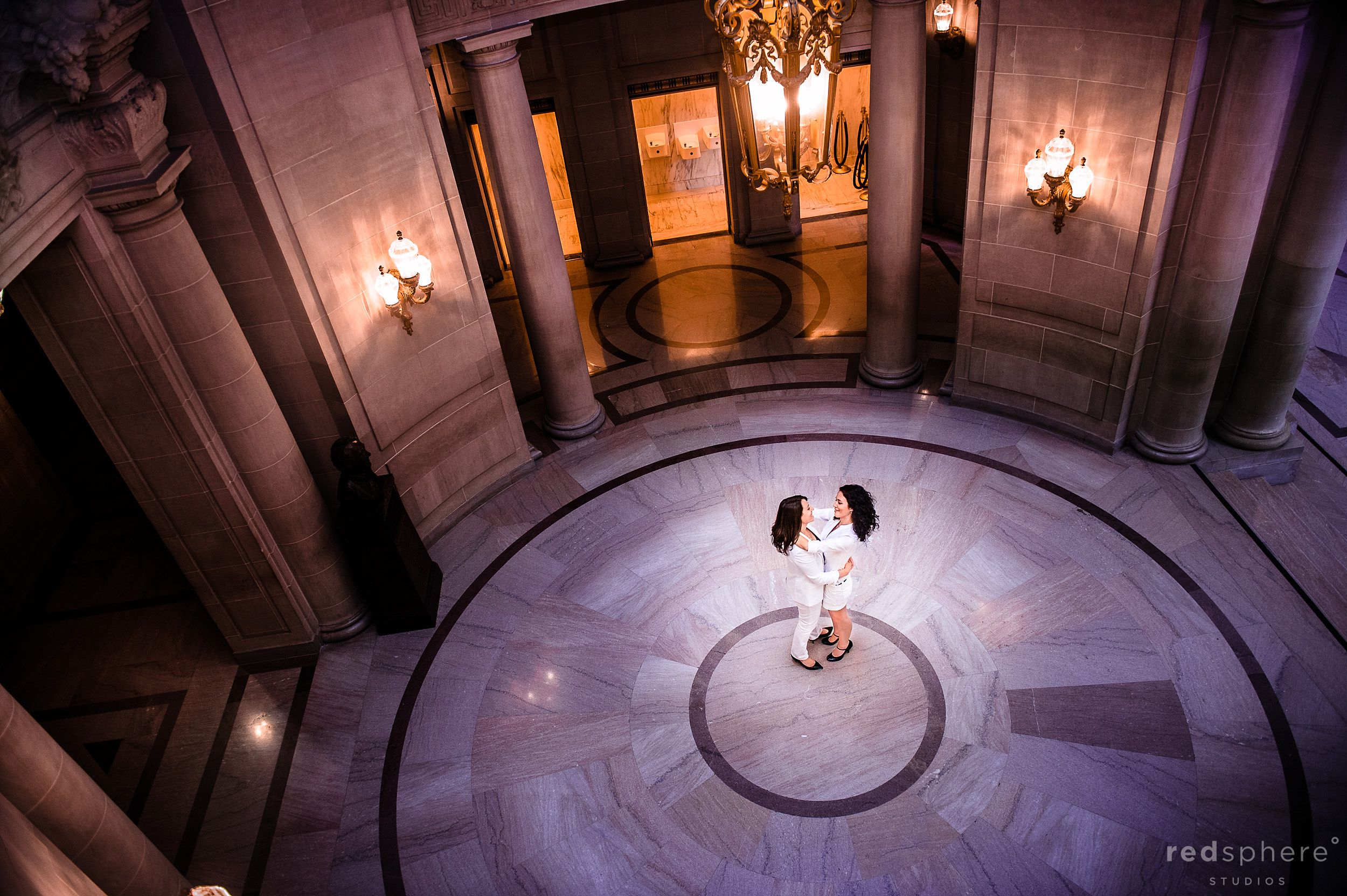 Brides Mini Dance In The Middle of Dome Type Floor, San Francisco City Hall Wedding