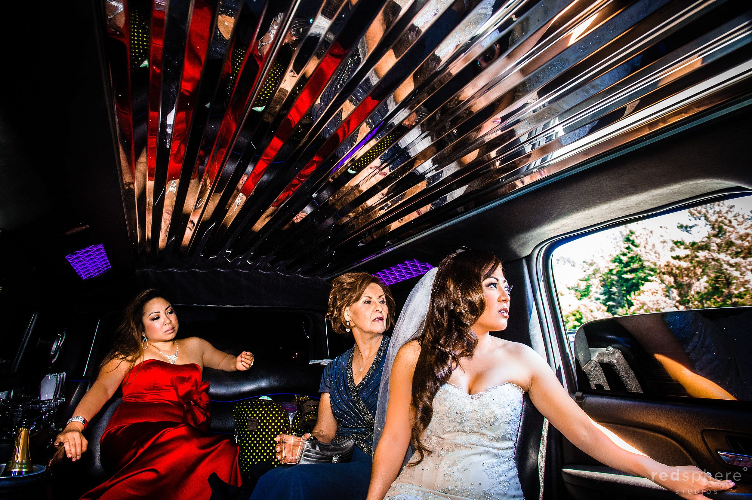 Bride and Close Family Members Inside The Limo
