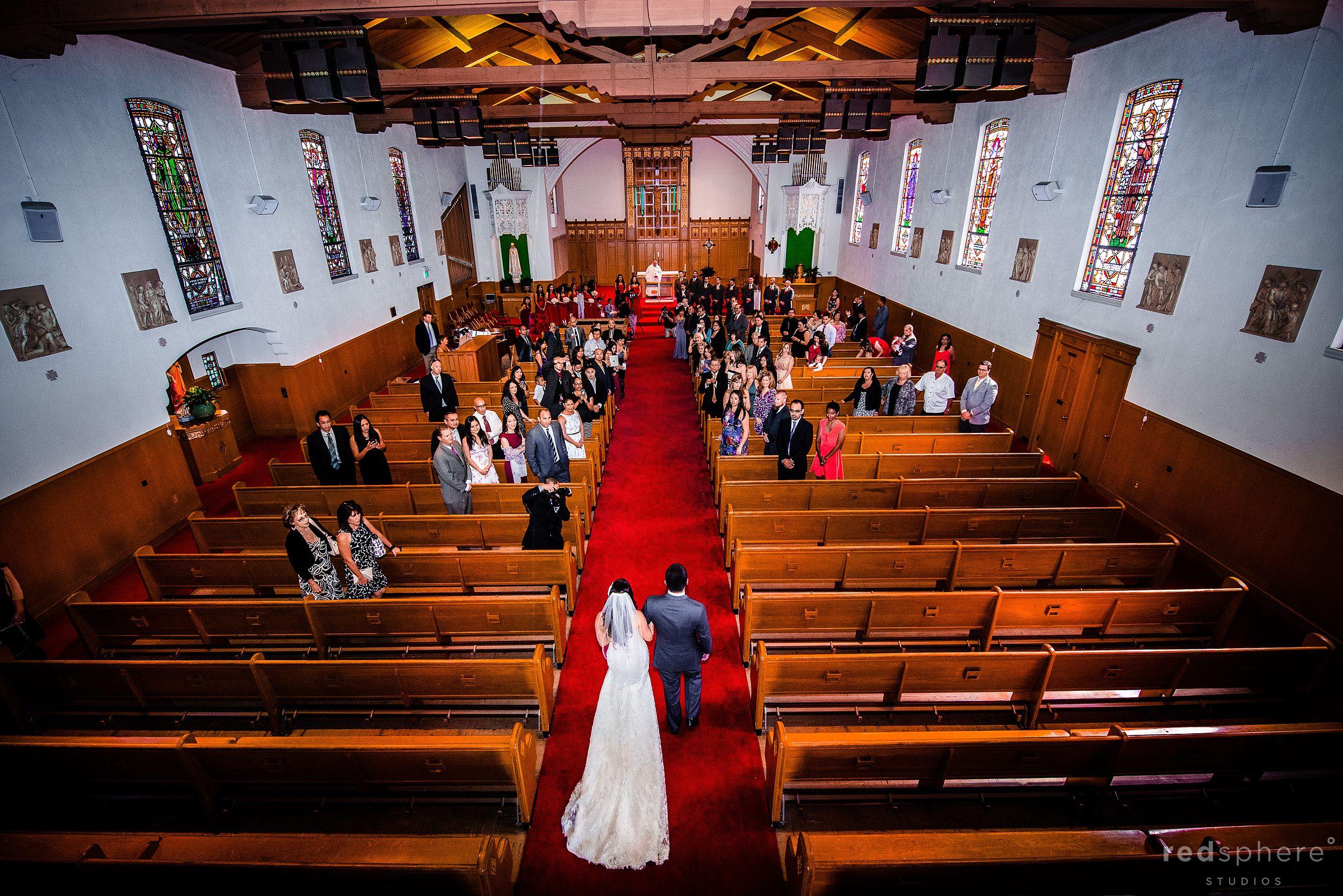 Bride Getting Walked Down The Aisle at Santa Maria Church, Orinda, CA