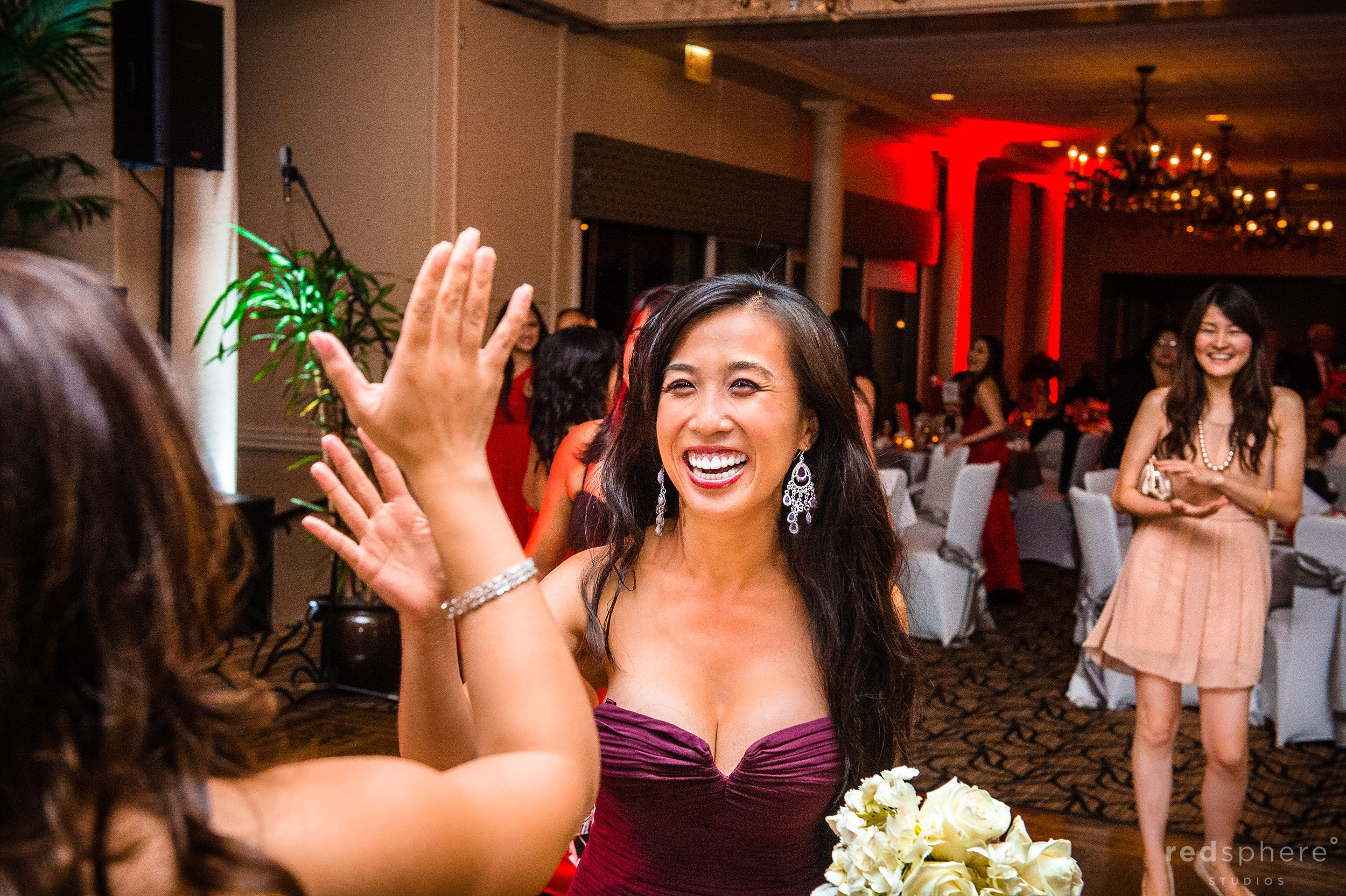 Bride and Close Friend Share a High Five Crow Canyon Country Club, Danville, CA