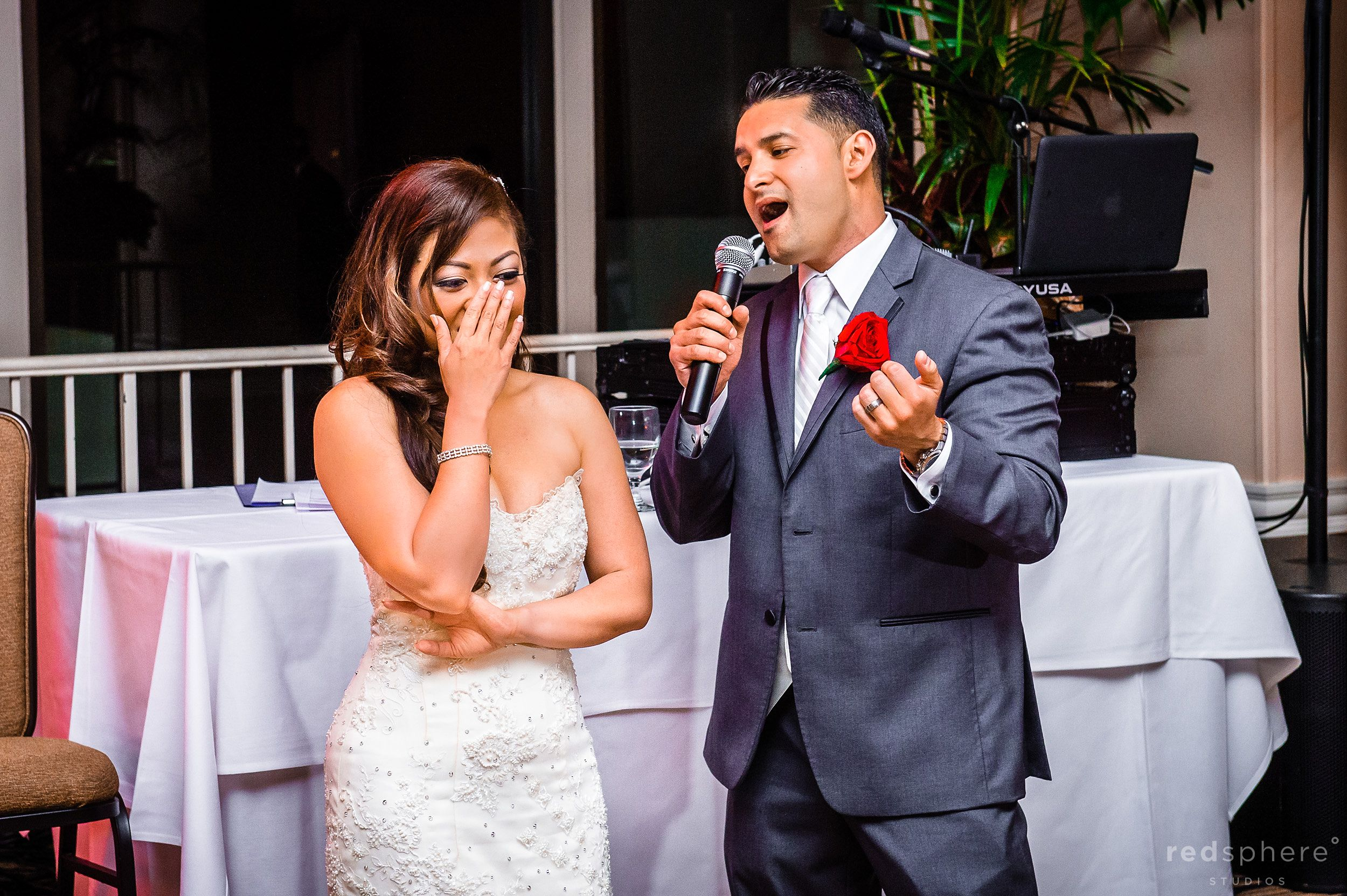 Bride Turns Red as Groom Sings To Her, Wedding Reception Danville California