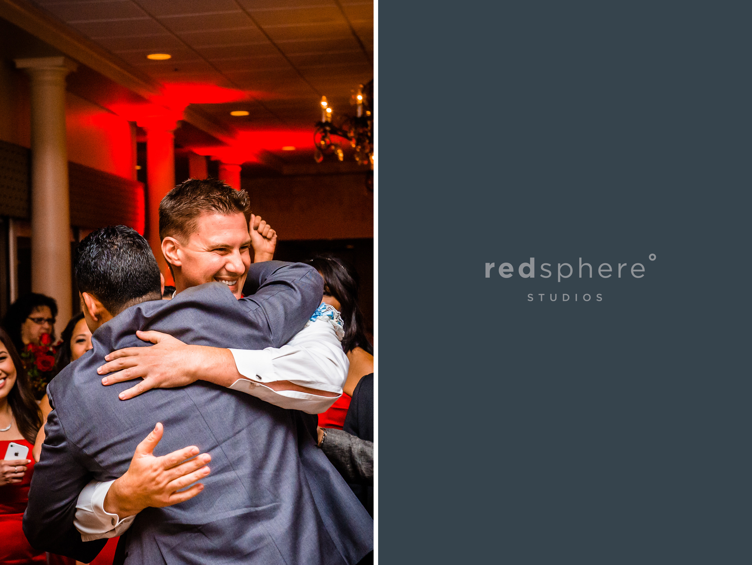 Groom and Friend Give a Congrats Hug, Wedding Reception Special Moments, Danville California