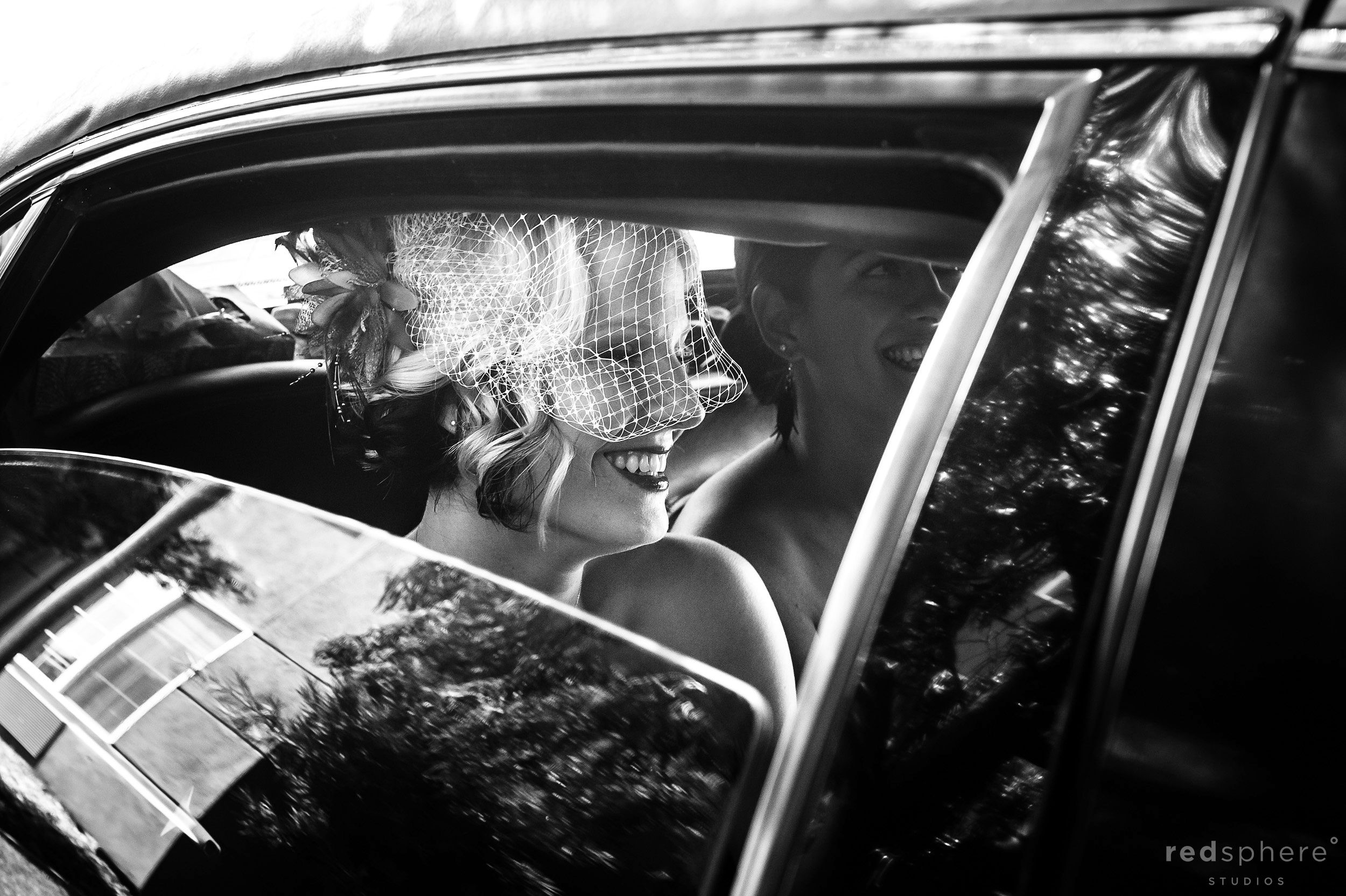 Bride With Wedding Veil In The Limo, Black and White Candid