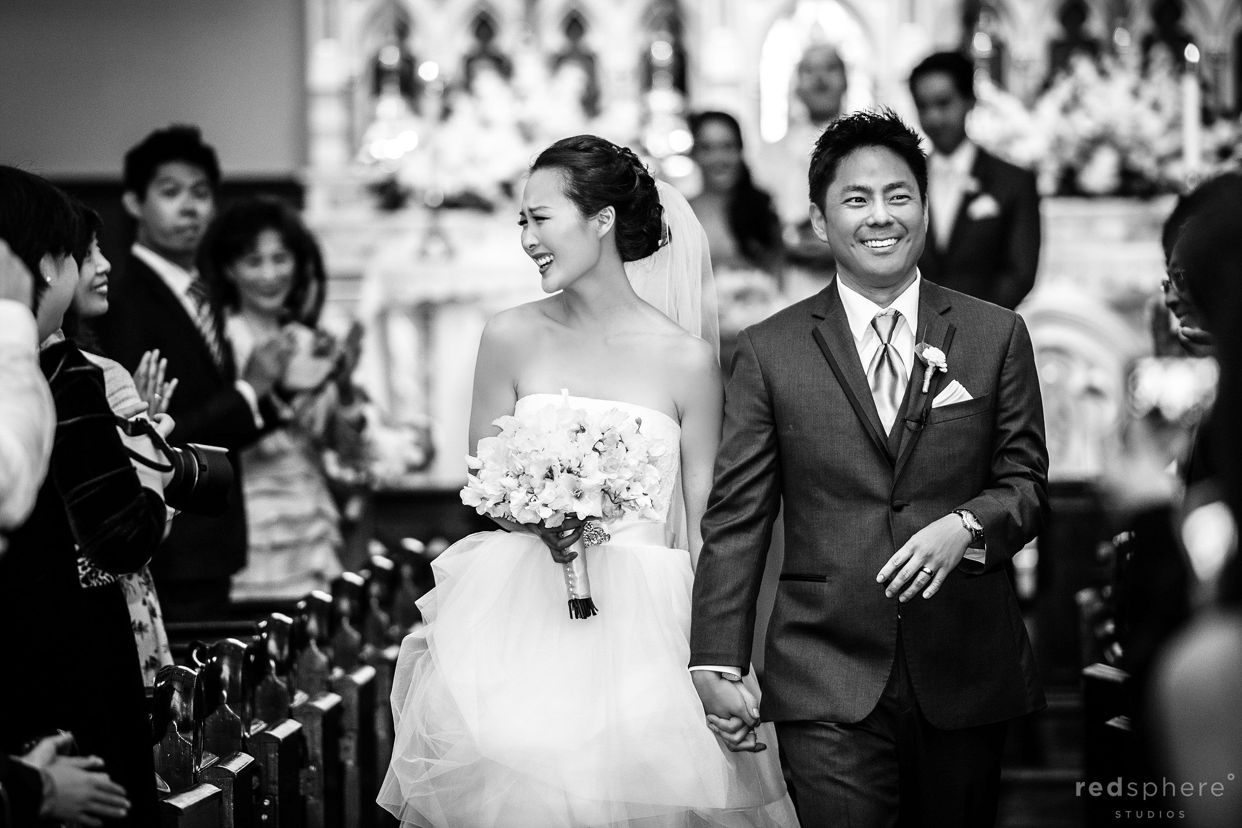 Hand In Hand, Newly Wed Couple Exiting Ceremony, Black and White