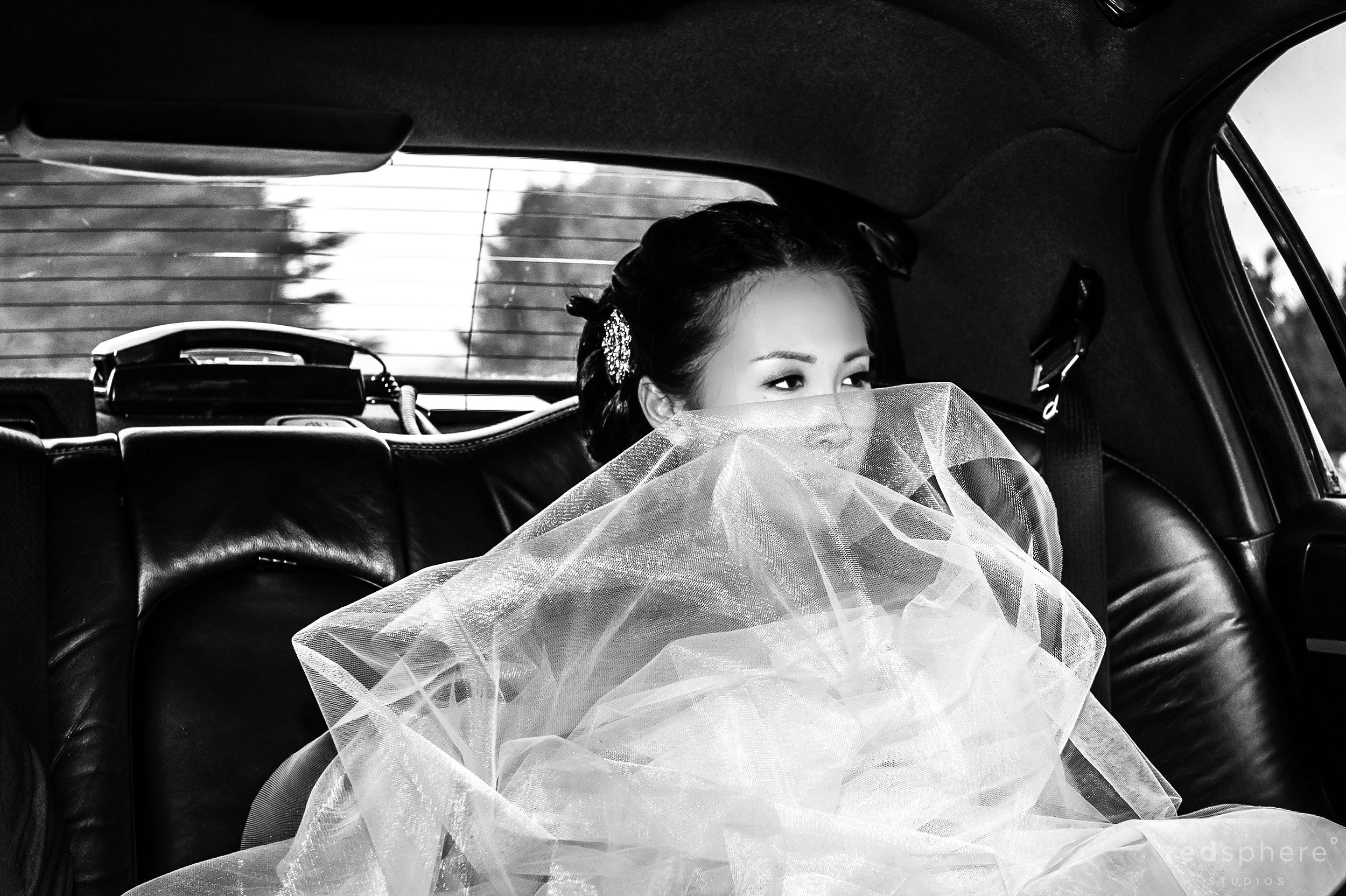 Bride In The Back Of The Limo While Veil's On Her Lap, Black and White