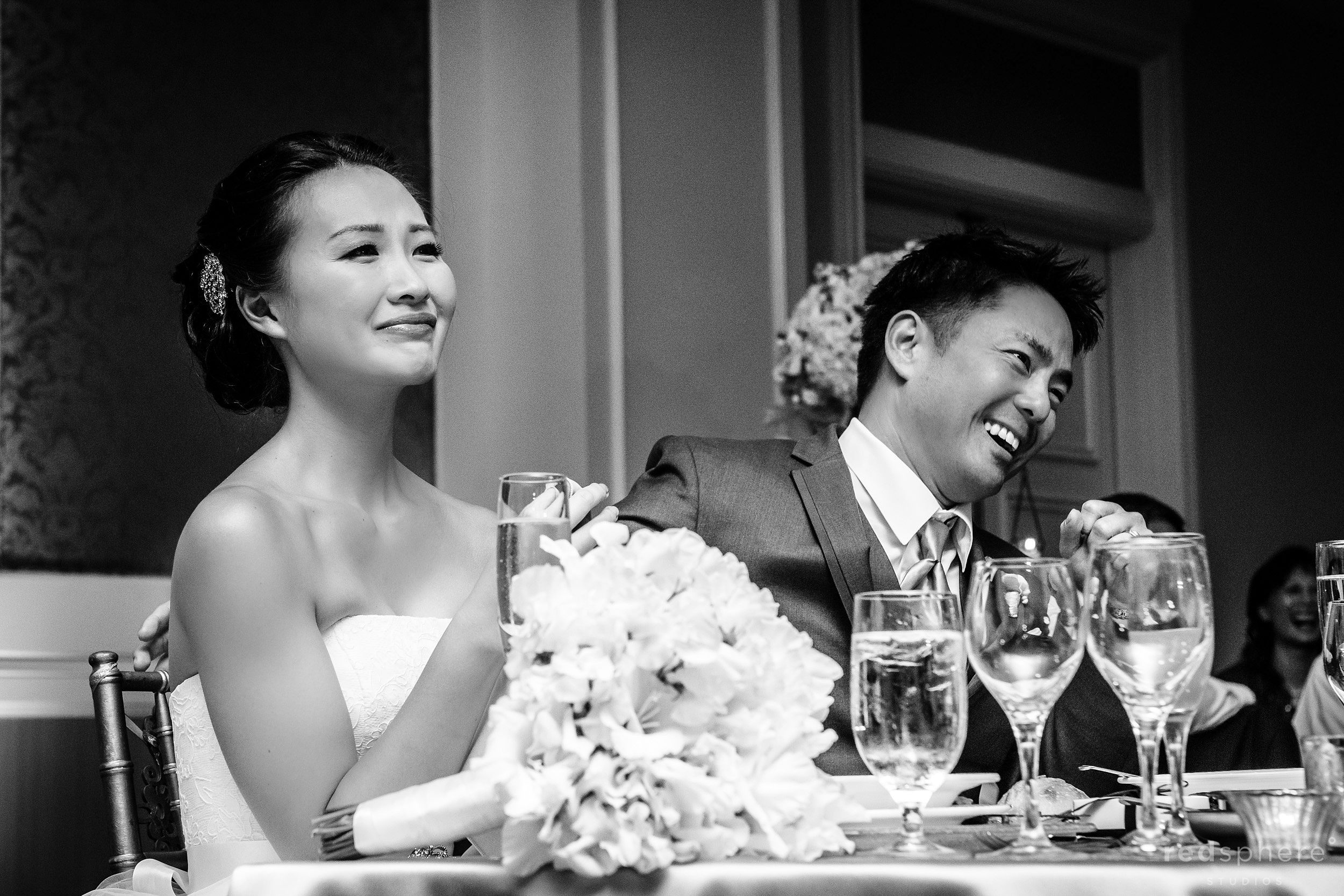 Bride Getting Emotional at The Ritz Carlton, Half Moon Bay Wedding Reception