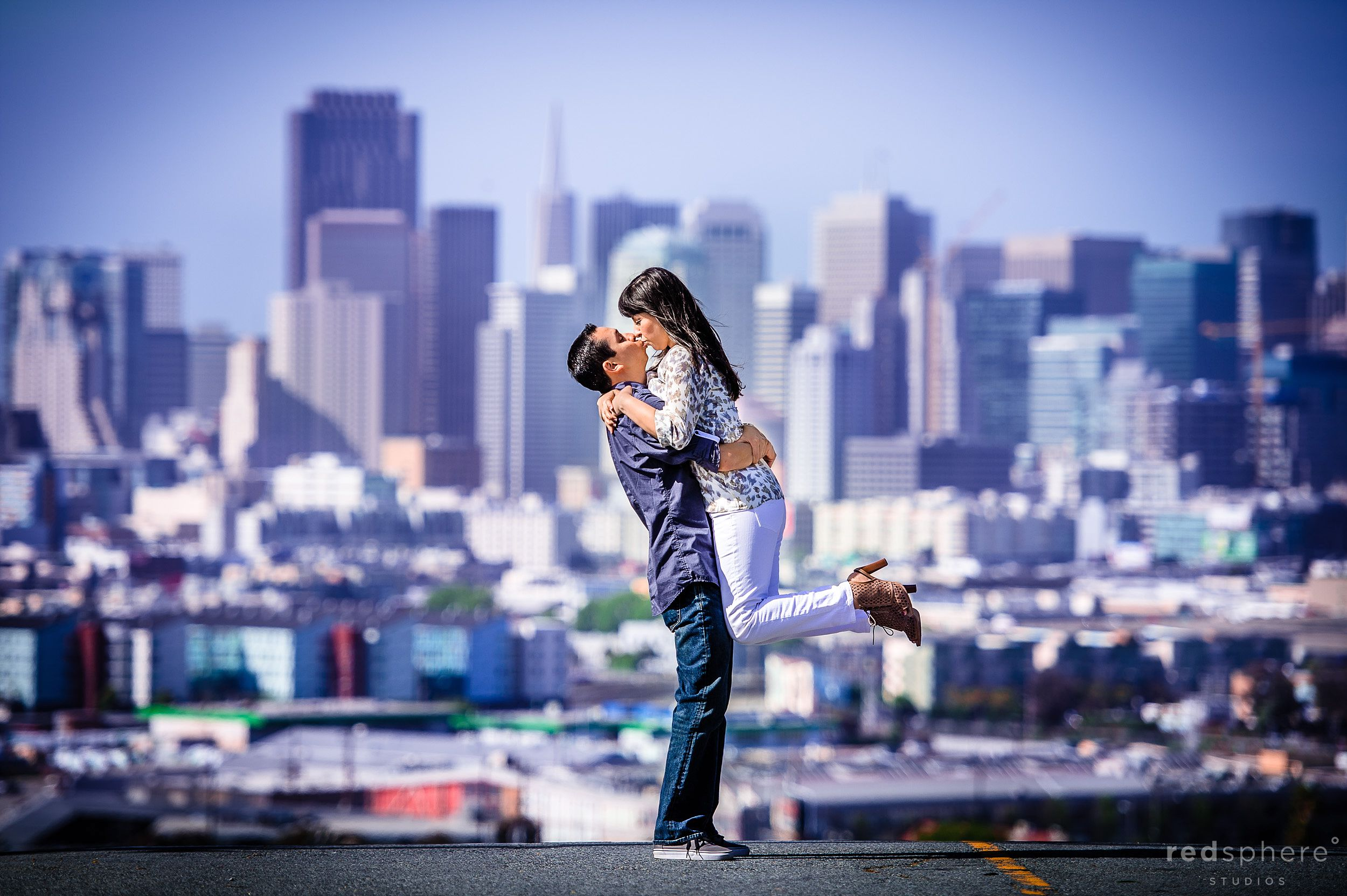 Couple Share a Beautiful Kiss on Top of Potrero Hill, San Francisco Engagement