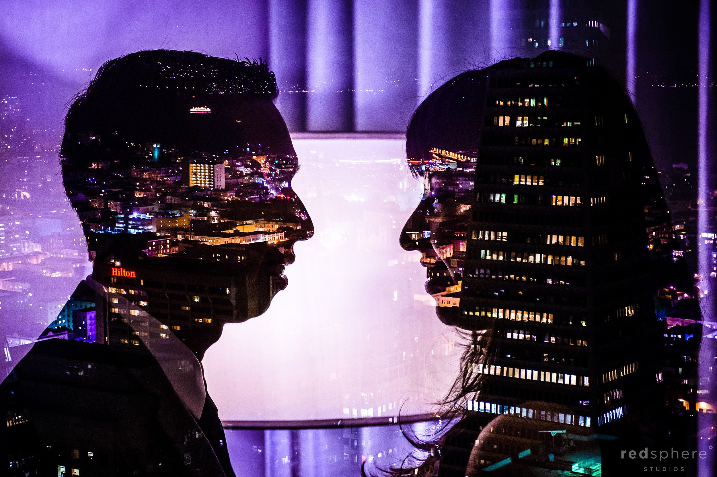 Multiple Exposure Engagement Photo, Couple Faces Against San Francisco Nightfall