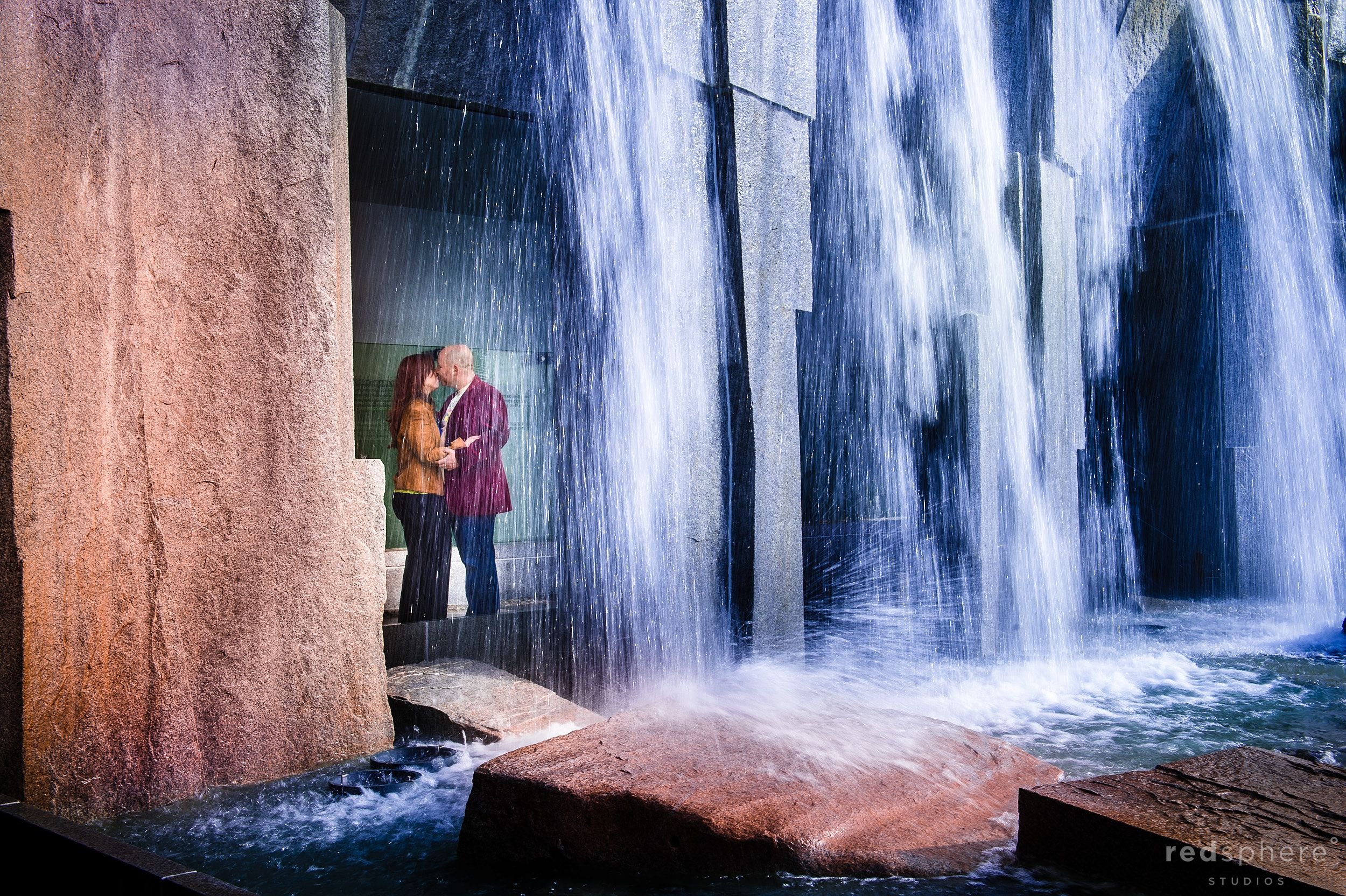 Couple Engagement Behind Financial District Waterfall, Downtown San Francisco