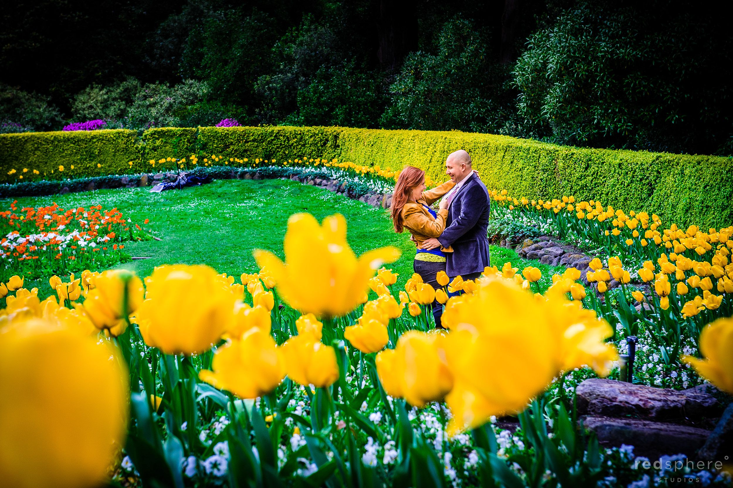 Couple Stare Intently Into One Another's Eyes in Golden Gate Park, San Francisco