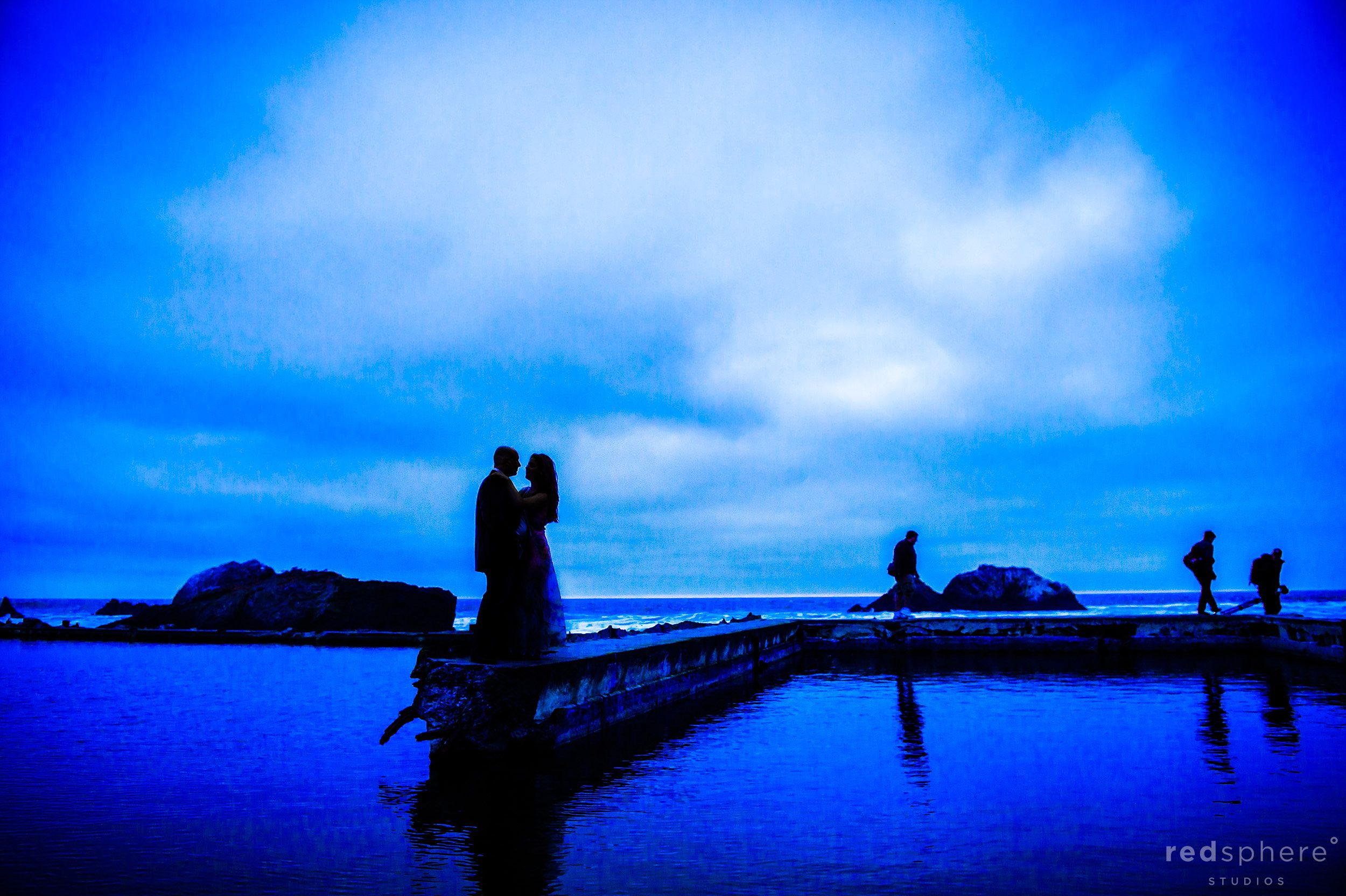 Vibrant Silhouette of Engaged Couple, Sutro Baths SF