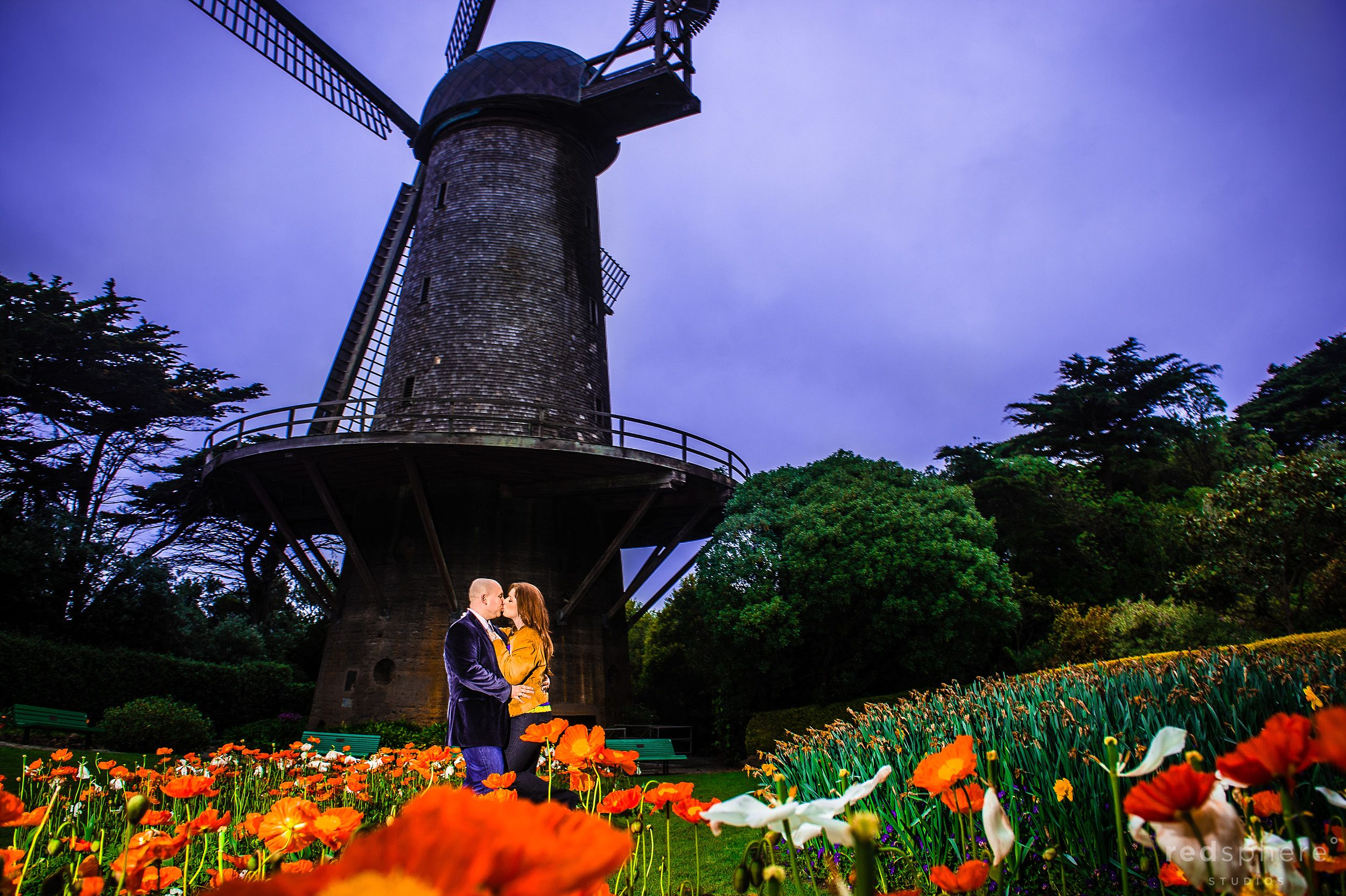 Couple Kiss at Golden Gate Park Windmill, SF Engagement