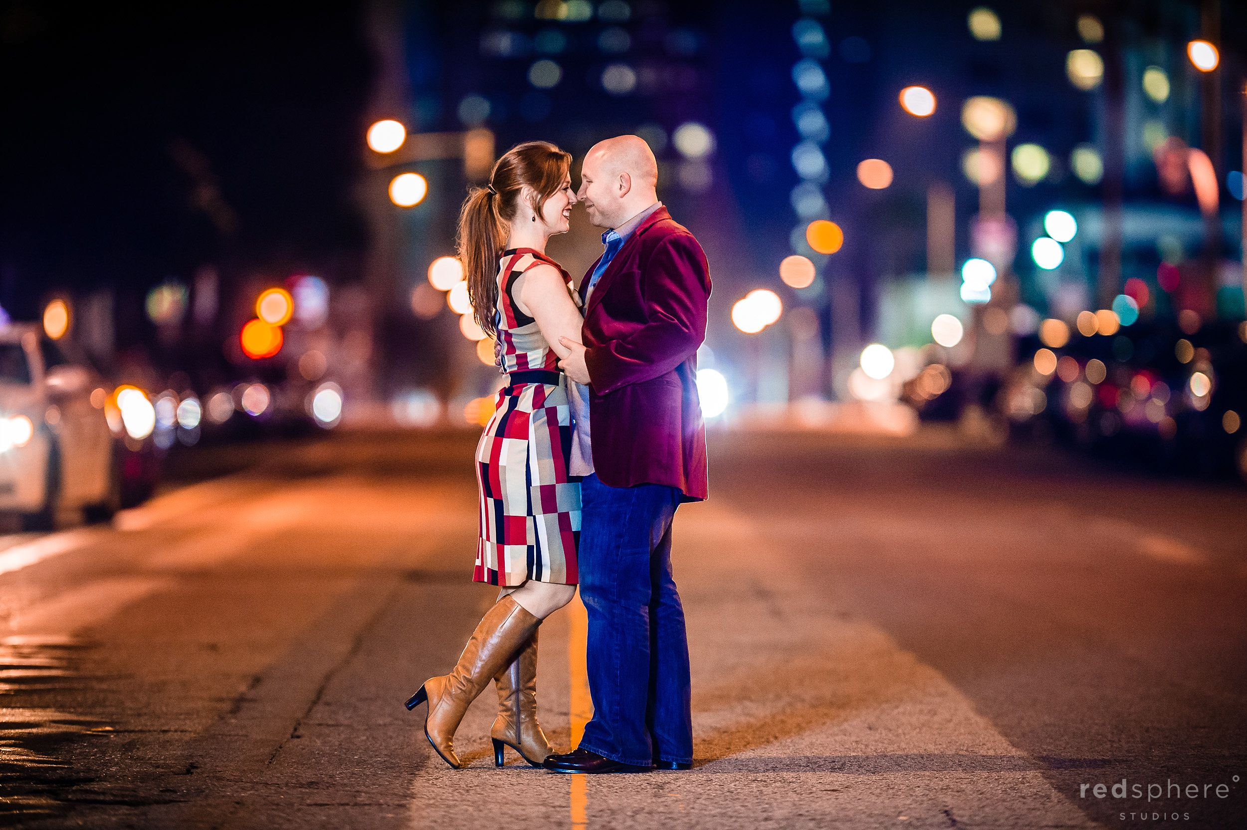 Intimate Couple Moment on Streets of Downtown San Francisco, Bokeh Background