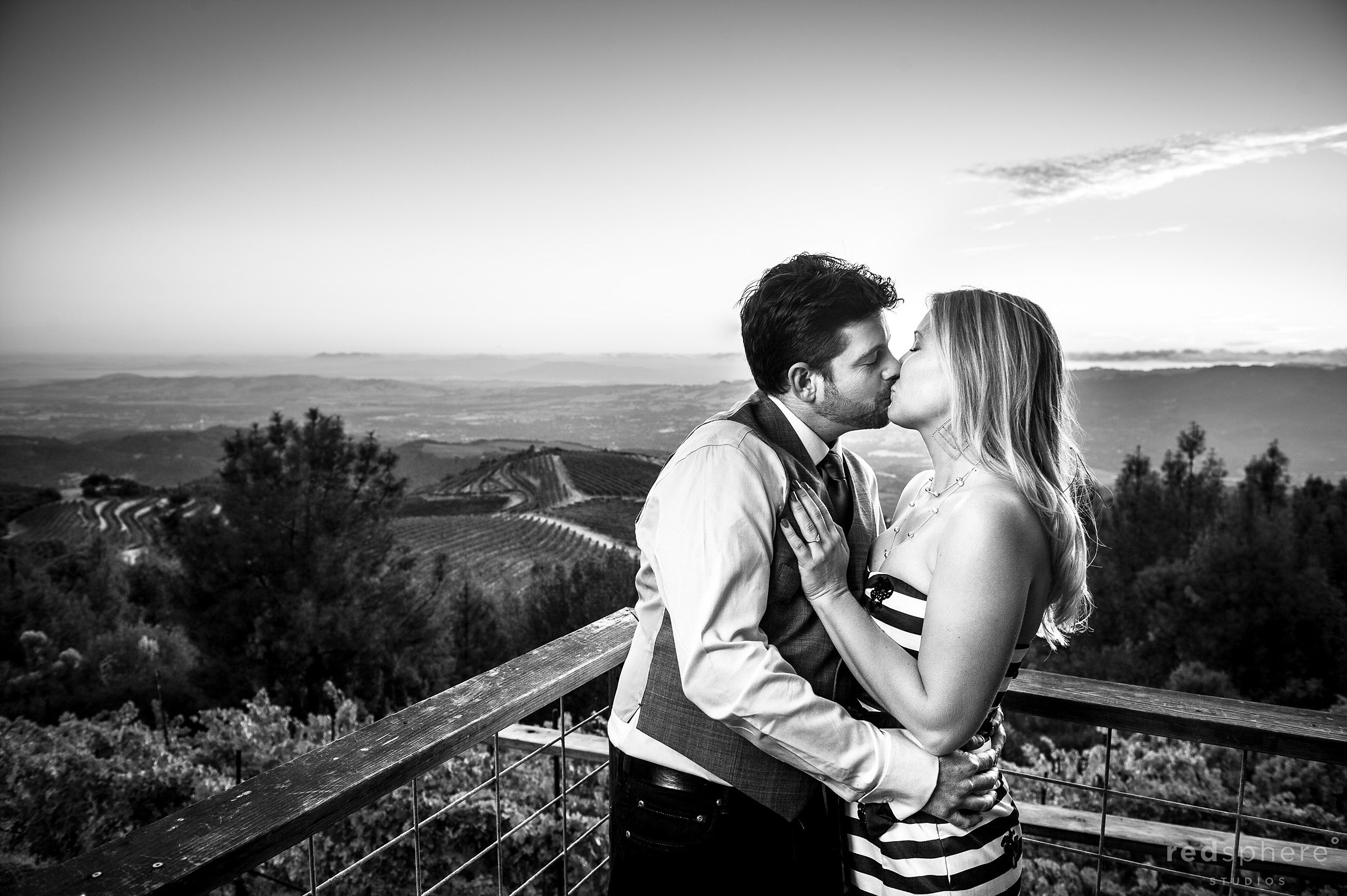 Couple Kiss and Embrace, Black and White Engagements, Sonoma County