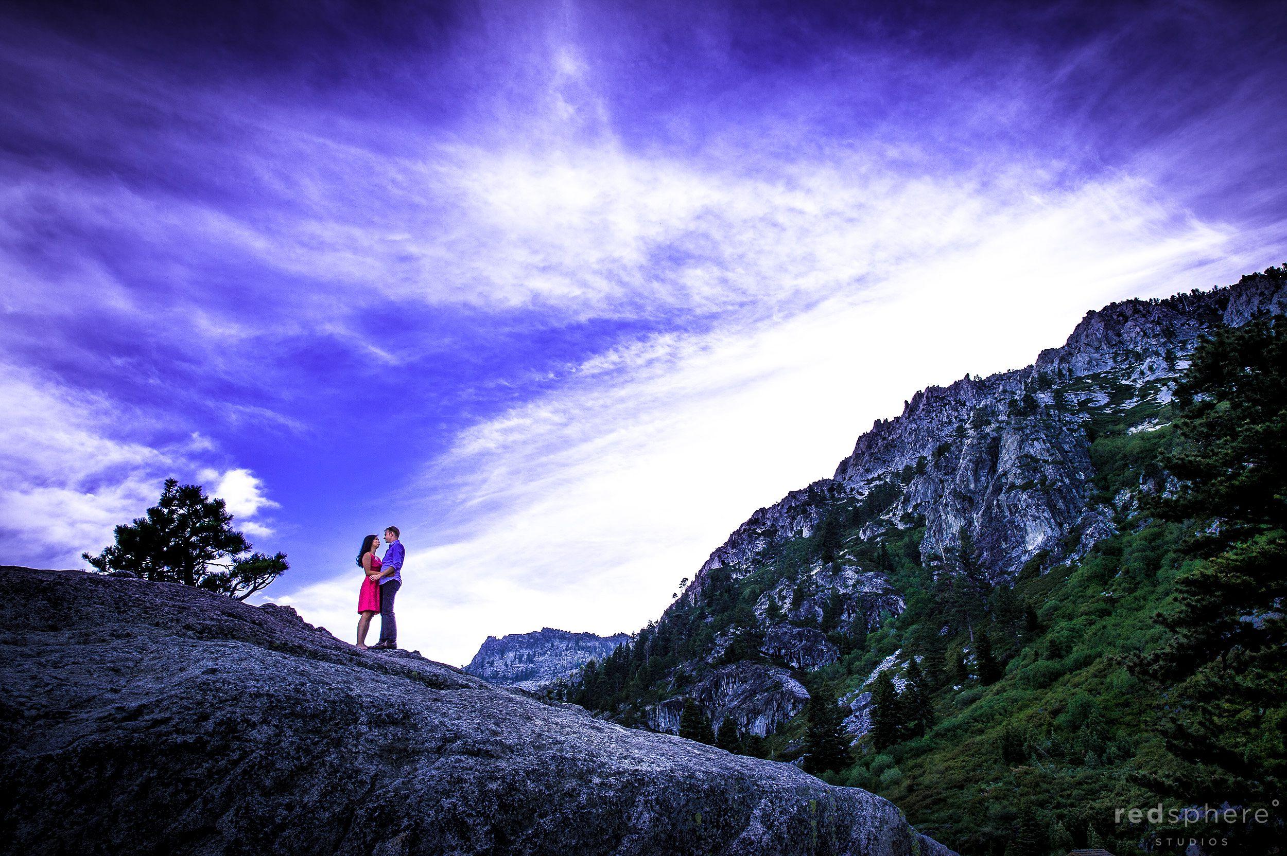 Tiny Couple on Massive Rock, South Lake Tahoe Engagement, Purple Skies