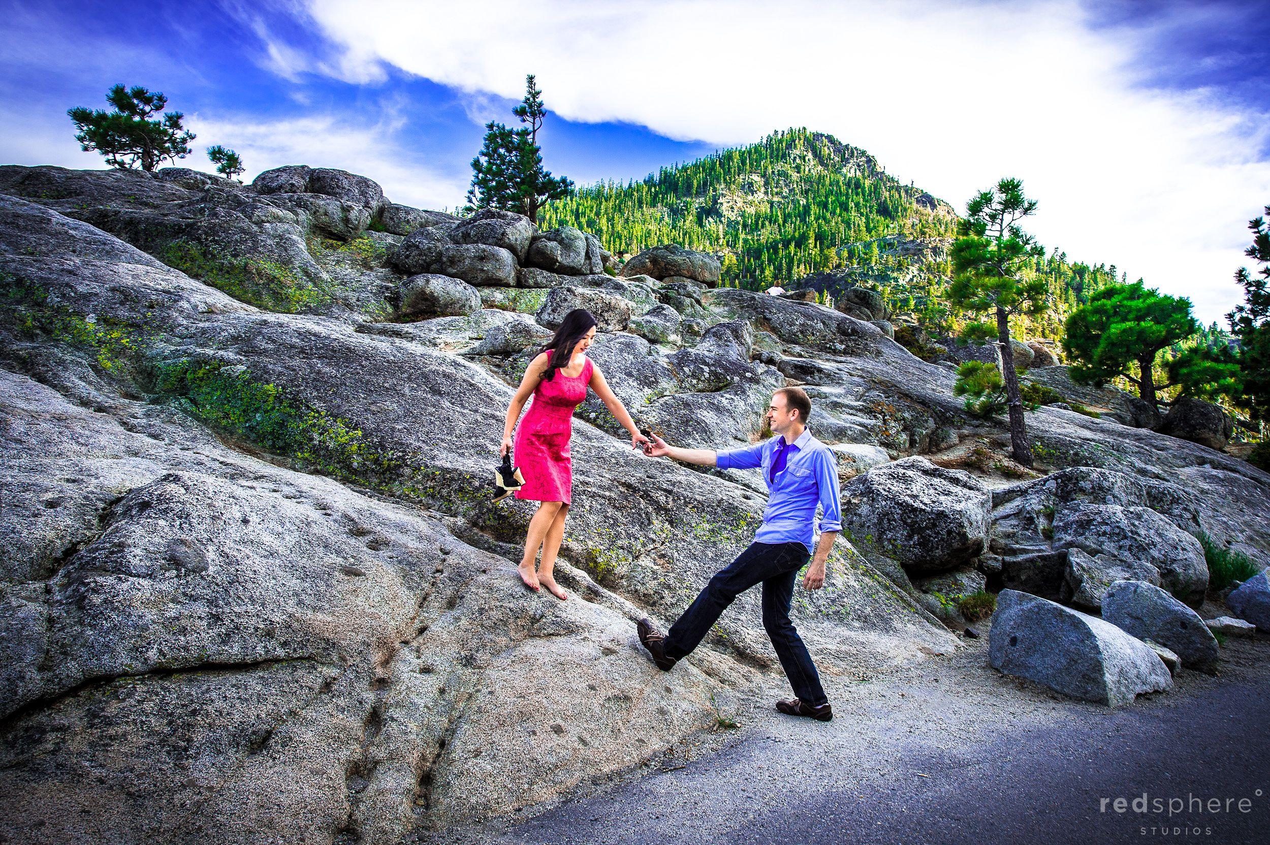 Woman Leads Man Up Rock, Lake Tahoe Engagements