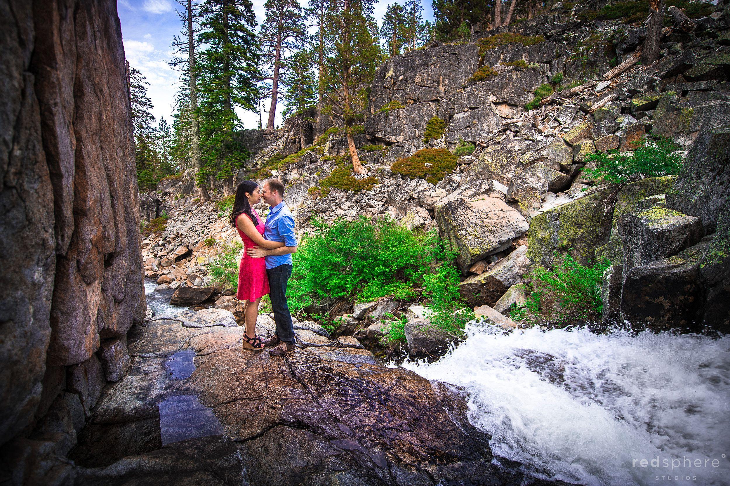 Couple Engagement Session Along Rushing Waterfalls of South Lake Tahoe