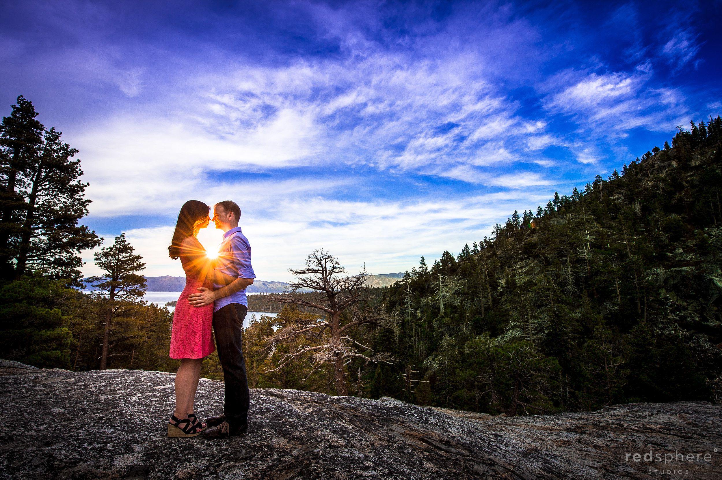 Couple Kiss Between Setting Sun Rays, Emerald Bay South Lake Tahoe