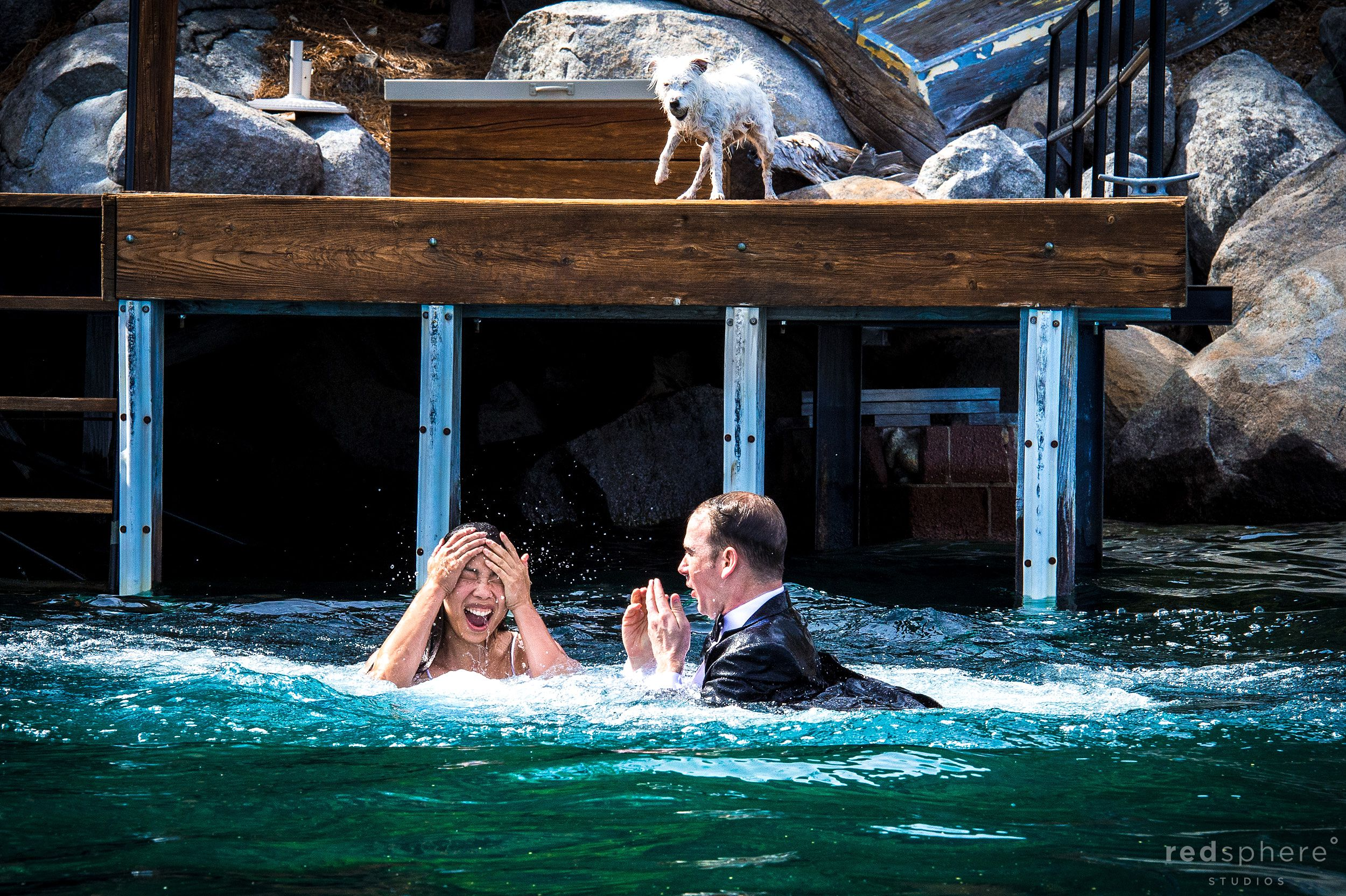 Couple Soaked in Fresh Blue Lake Tahoe Water