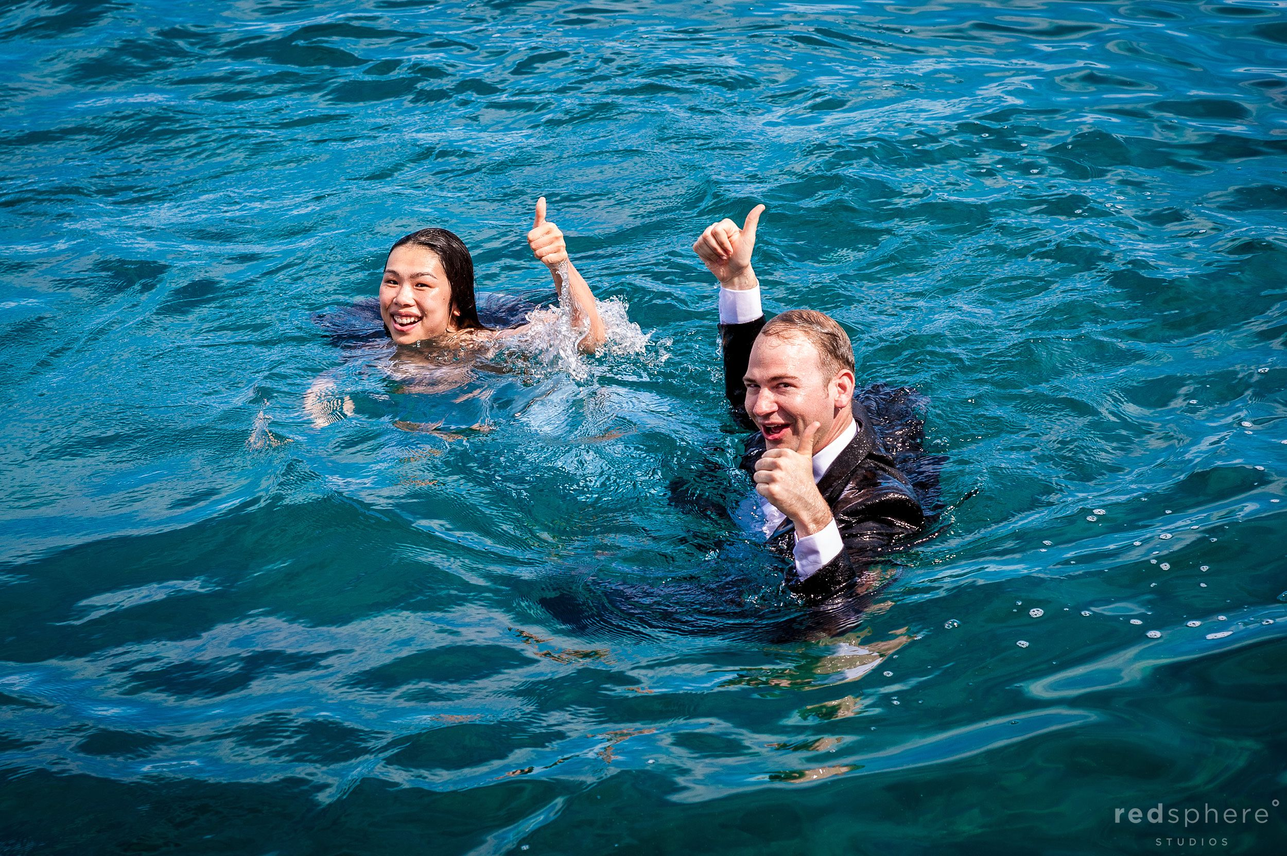 Thumbs Up From Soaked Engaged Couple, Lake Tahoe