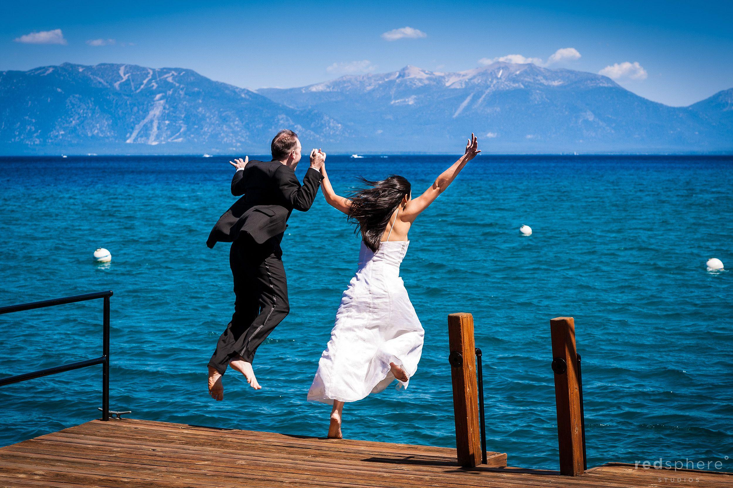 Couple Jump of Dock at Lake Tahoe, Fun Engagement Sessions at Lake Tahoe