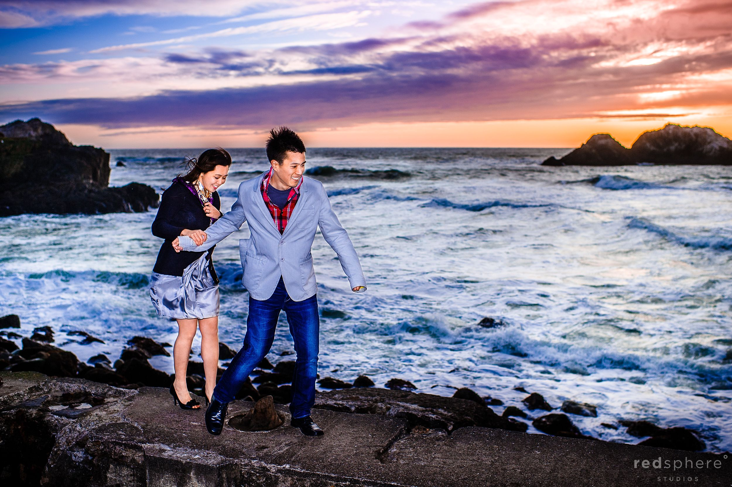 Man Leads Women on San Francisco's Sutro Bath Remains, Sunset Engagement Sessions