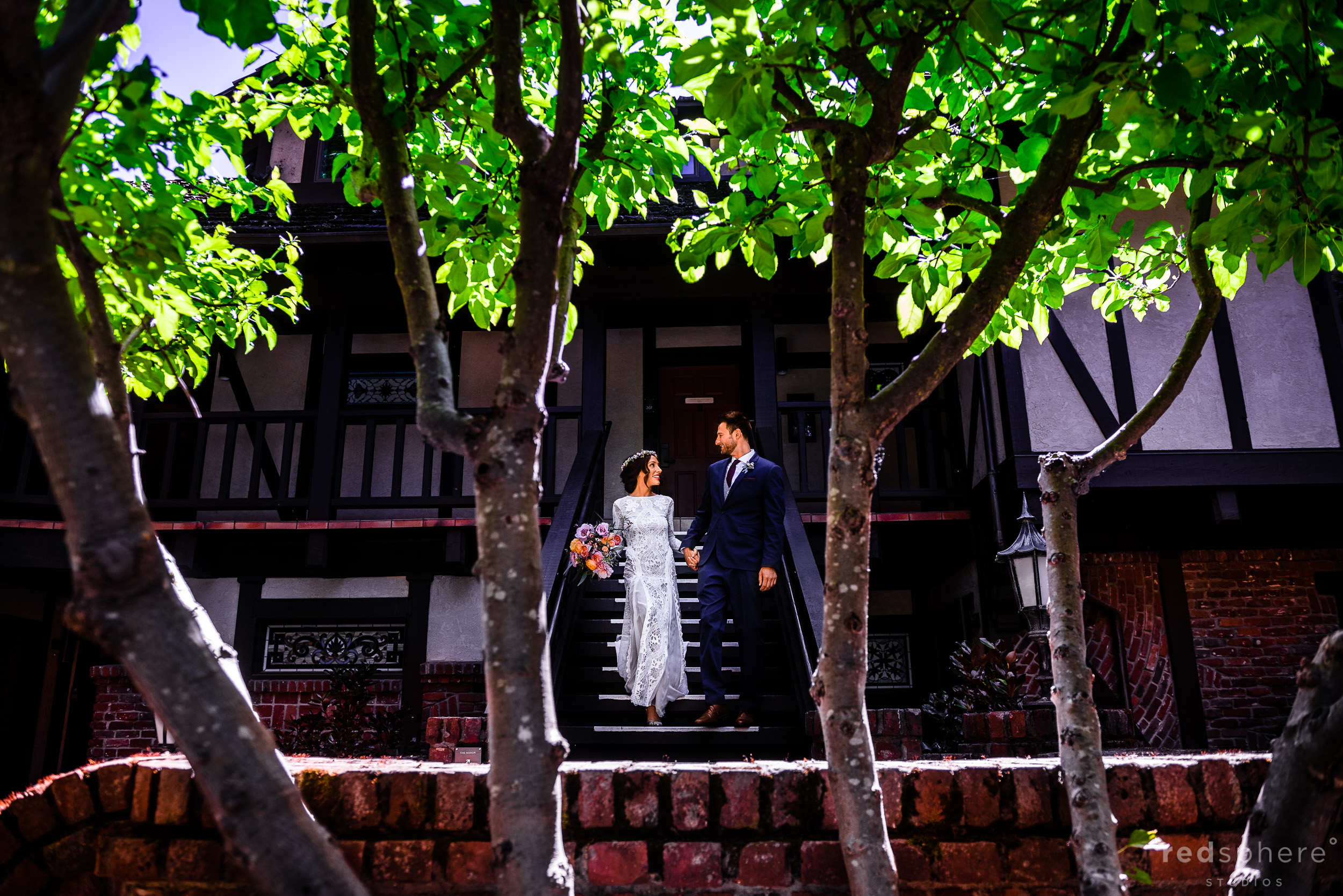 Bride and groom wedding portrait at Harvest Inn By Charlie Palmer, St. Helena, Napa Valley. Dress: Grace Loves Lace