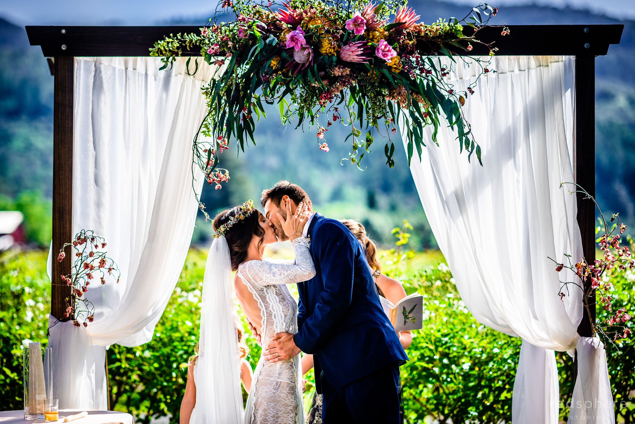 First kiss wedding ceremony at Harvest Inn By Charlie Palmer, St. Helena, Napa Valley