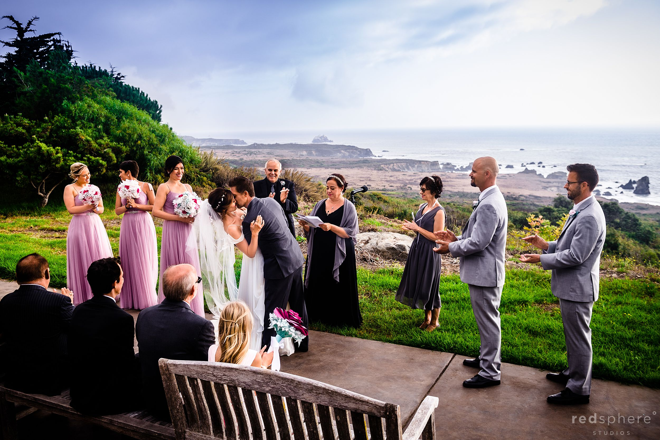 Intimate Big Sur Wedding Ceremony - First Kiss