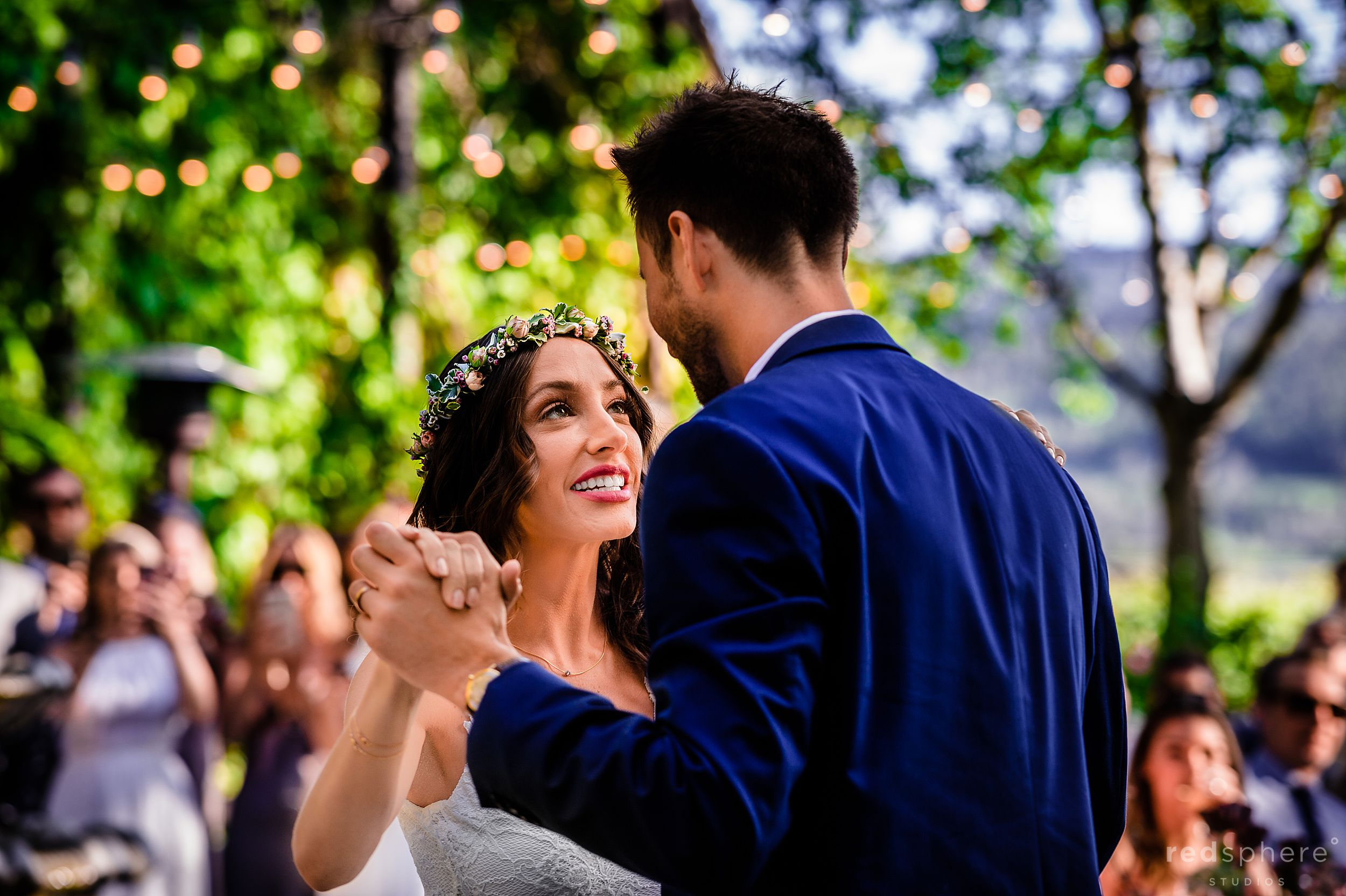Bride groom romantic first dance at Harvest Inn By Charlie Palmer, St. Helena, Napa Valley
