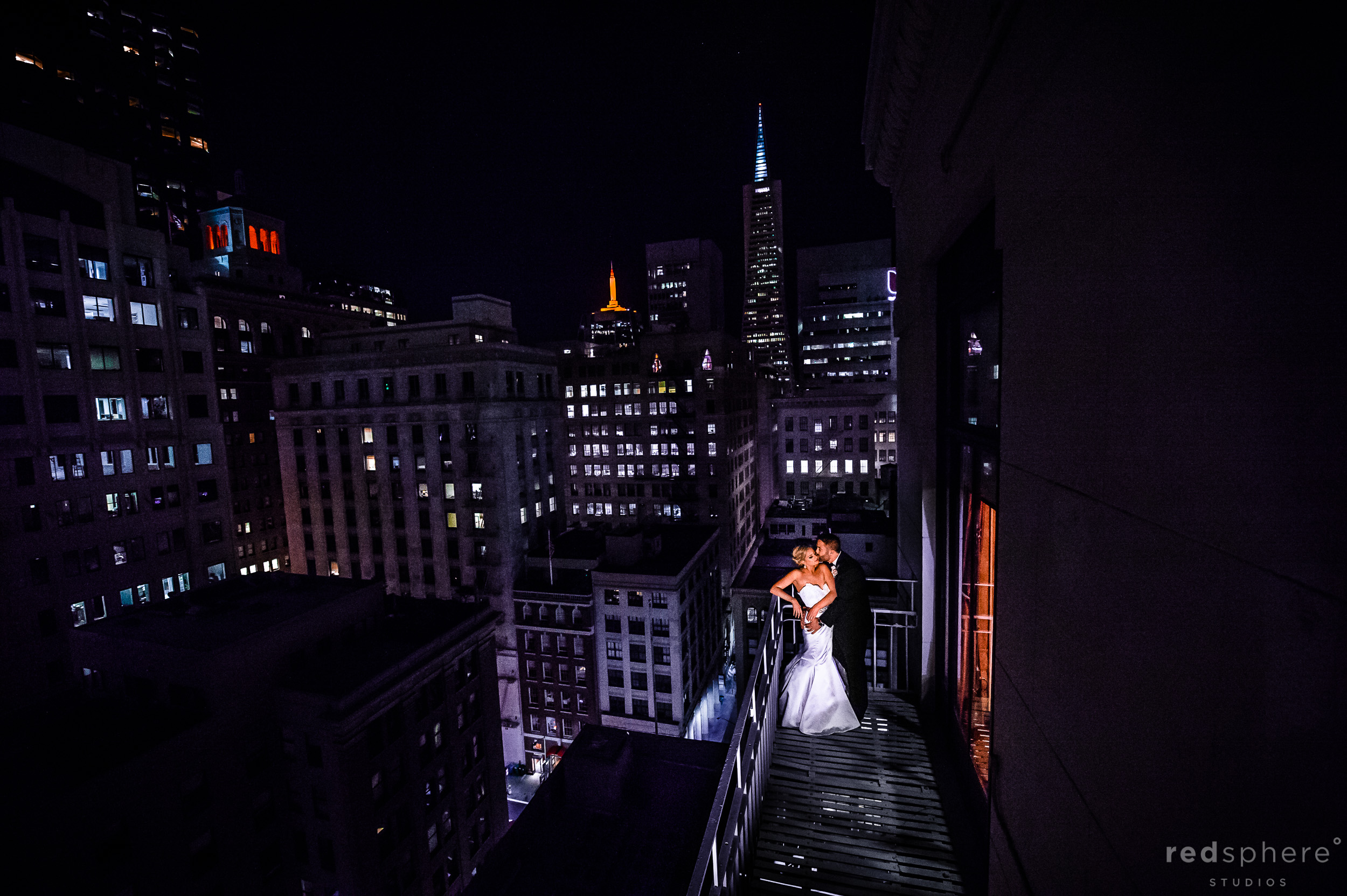 Bride and Groom On a Balcony at City Club San Francisco