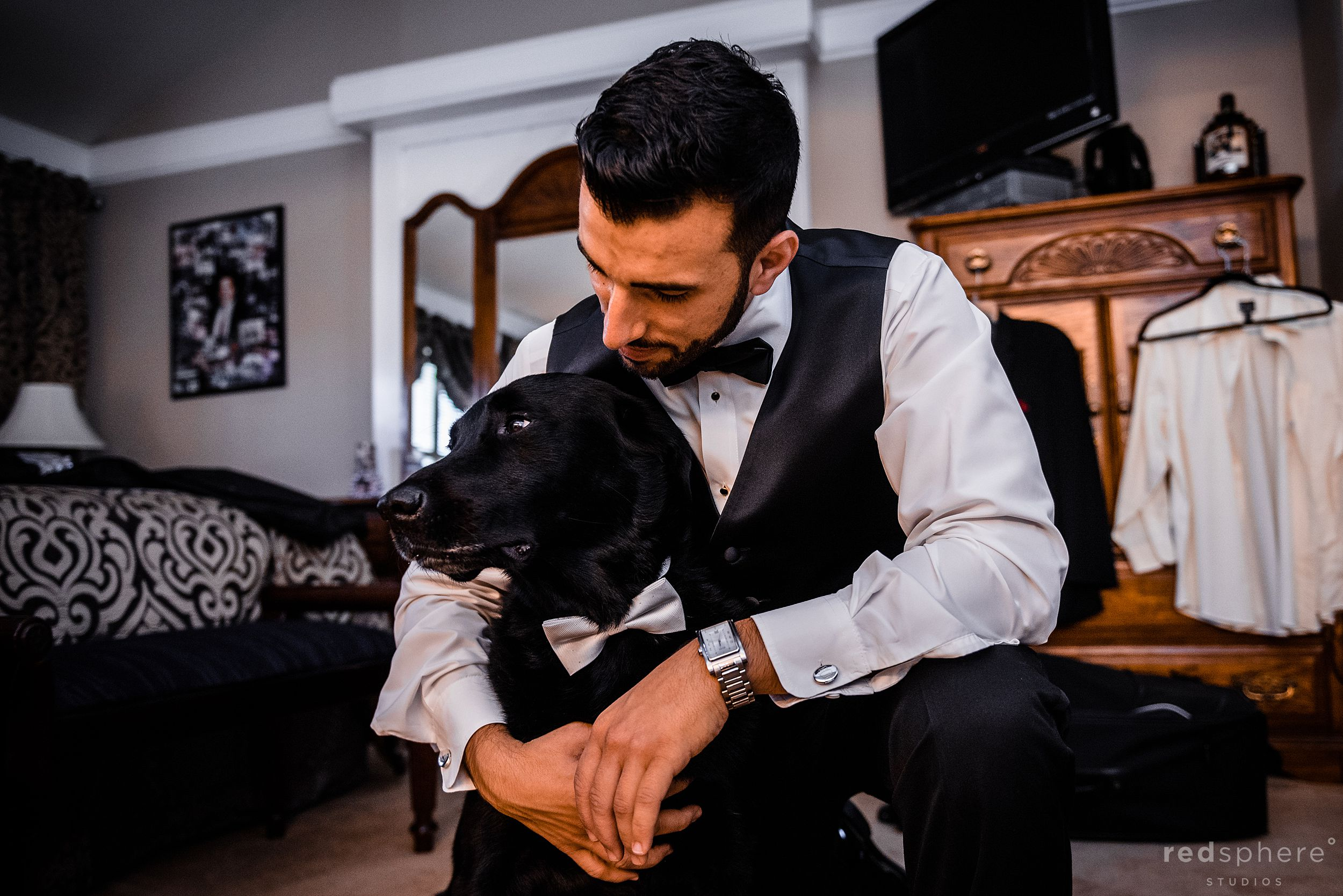 Groom getting ready with his dog